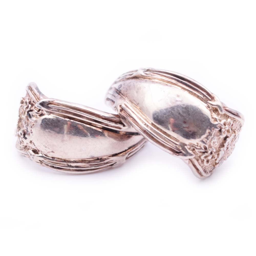 Sterling Silver Half Hoop Vintage Spoon Earrings