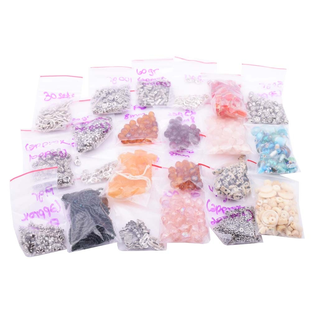 Large Collection of Assorted Beads, Components, and Jewelry Making Findings