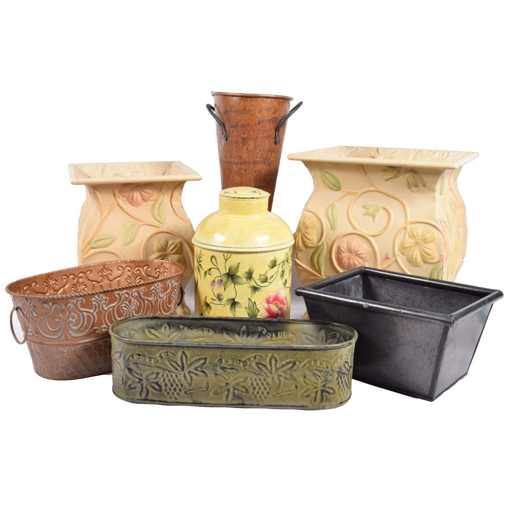 Painted Tin Planters and Vessels