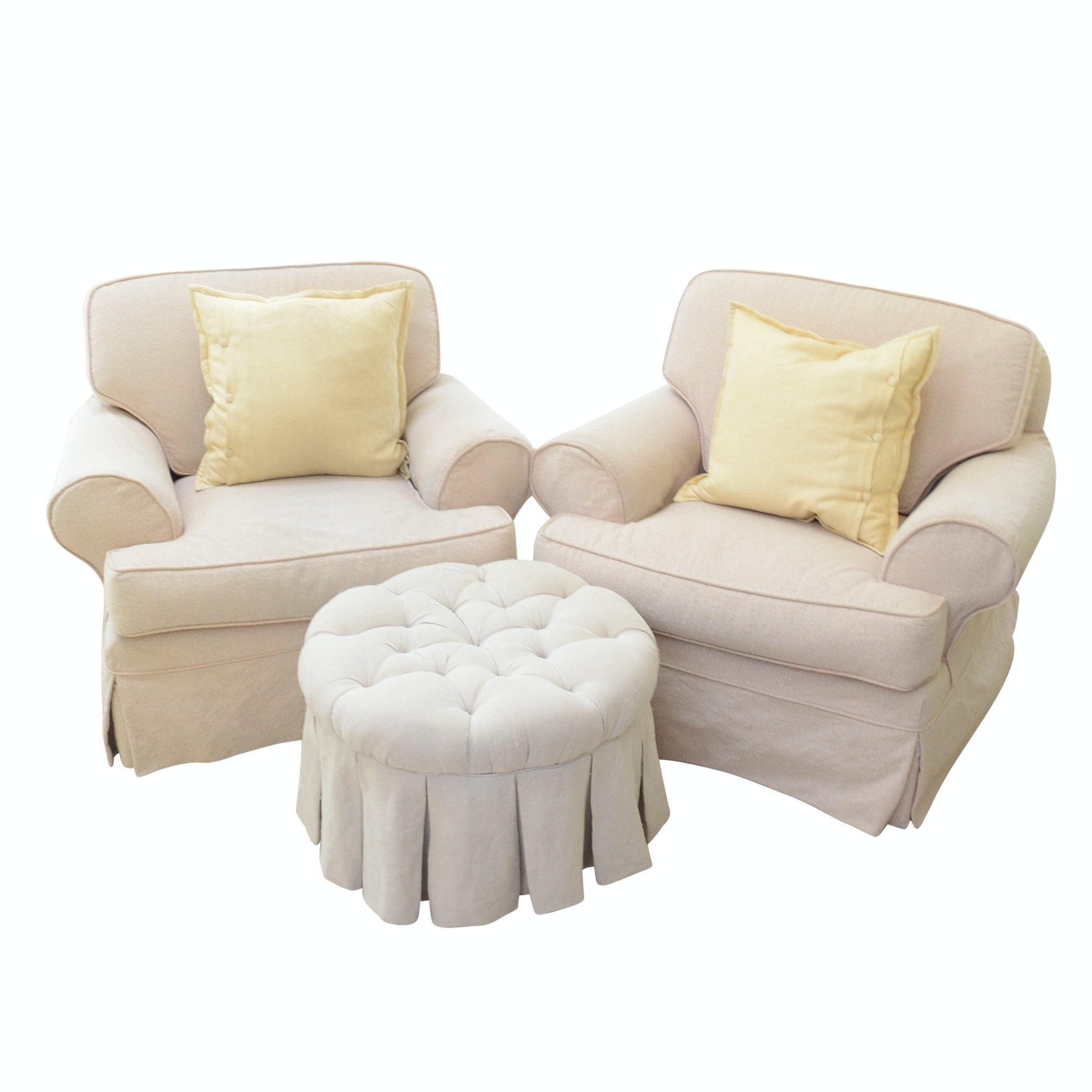 Pair of Slip-Covered Armchairs and Ottoman