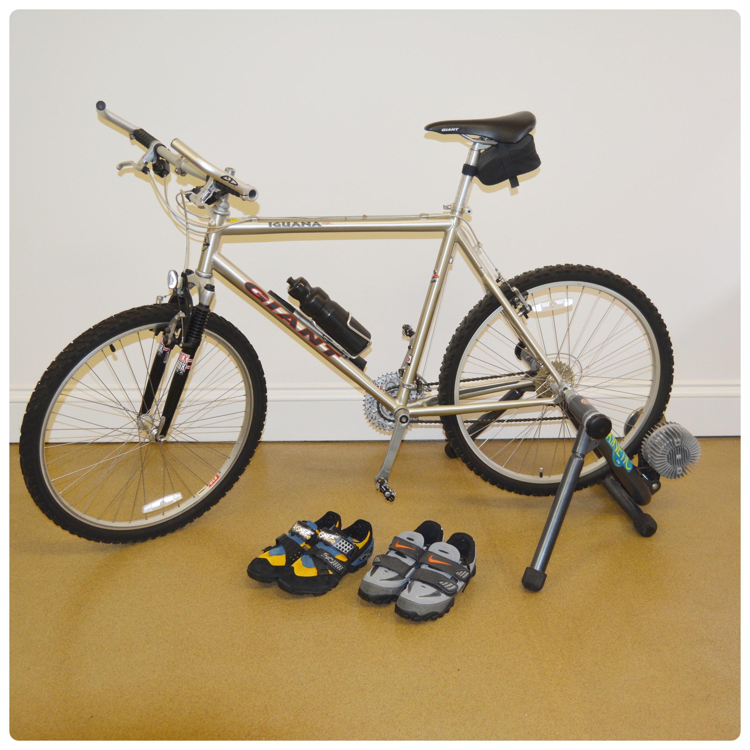 "Giant Iguana 21.5"" Bike, Bike Resistance Trainer and Bike Shoes"
