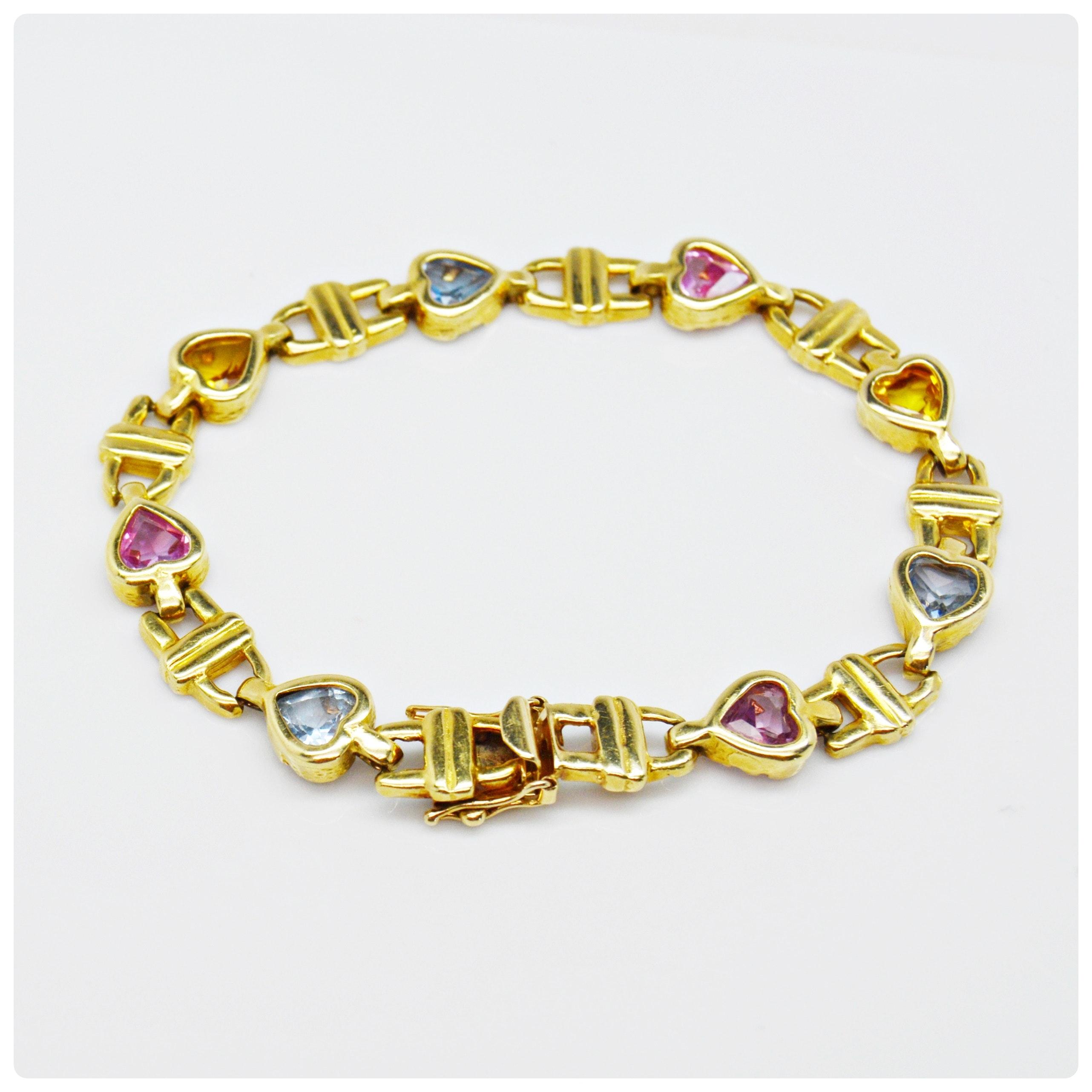 14K Yellow Gold Heart Shape Gemstone Bracelet