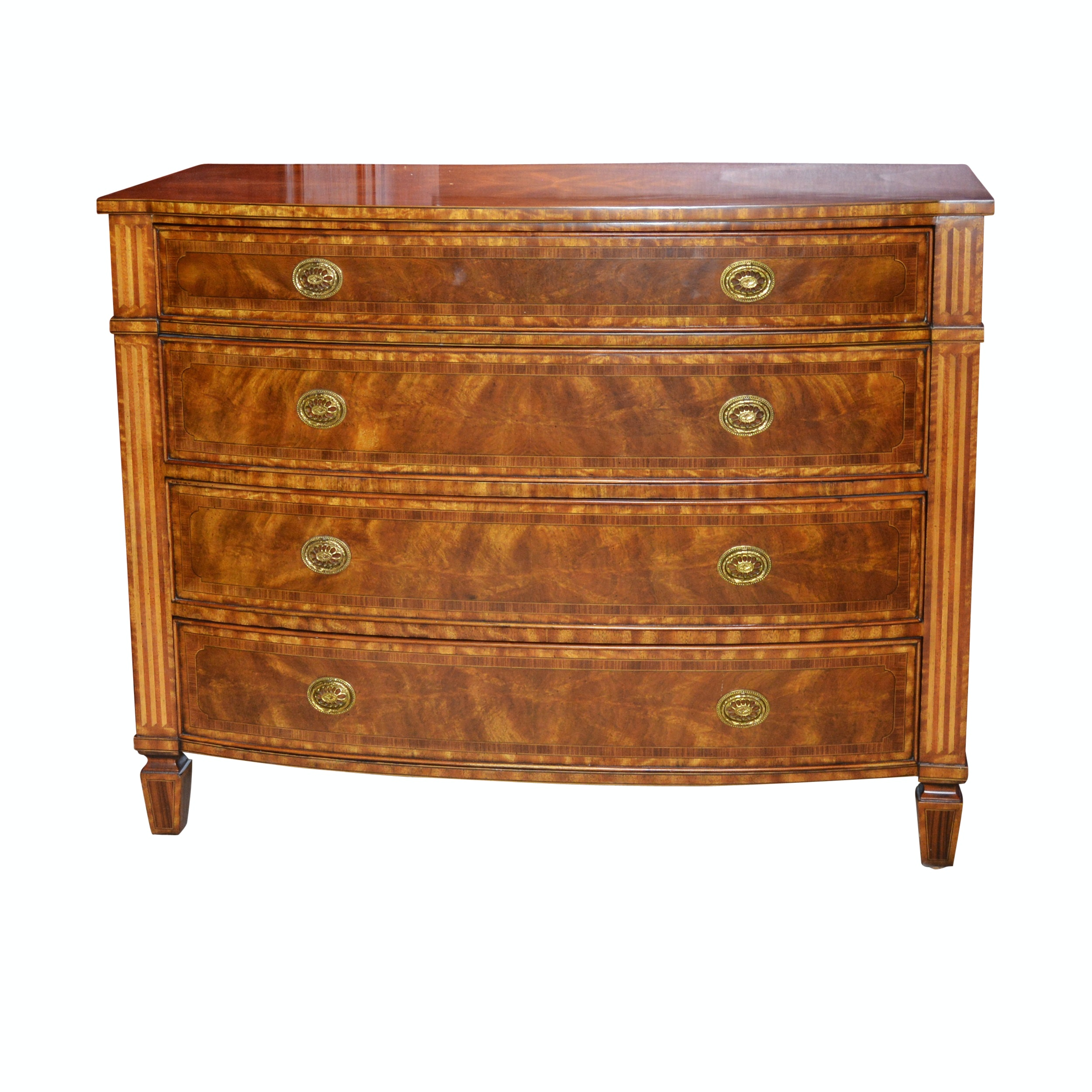 Maitland-Smith Empire Style Bow Front Chest of Drawers