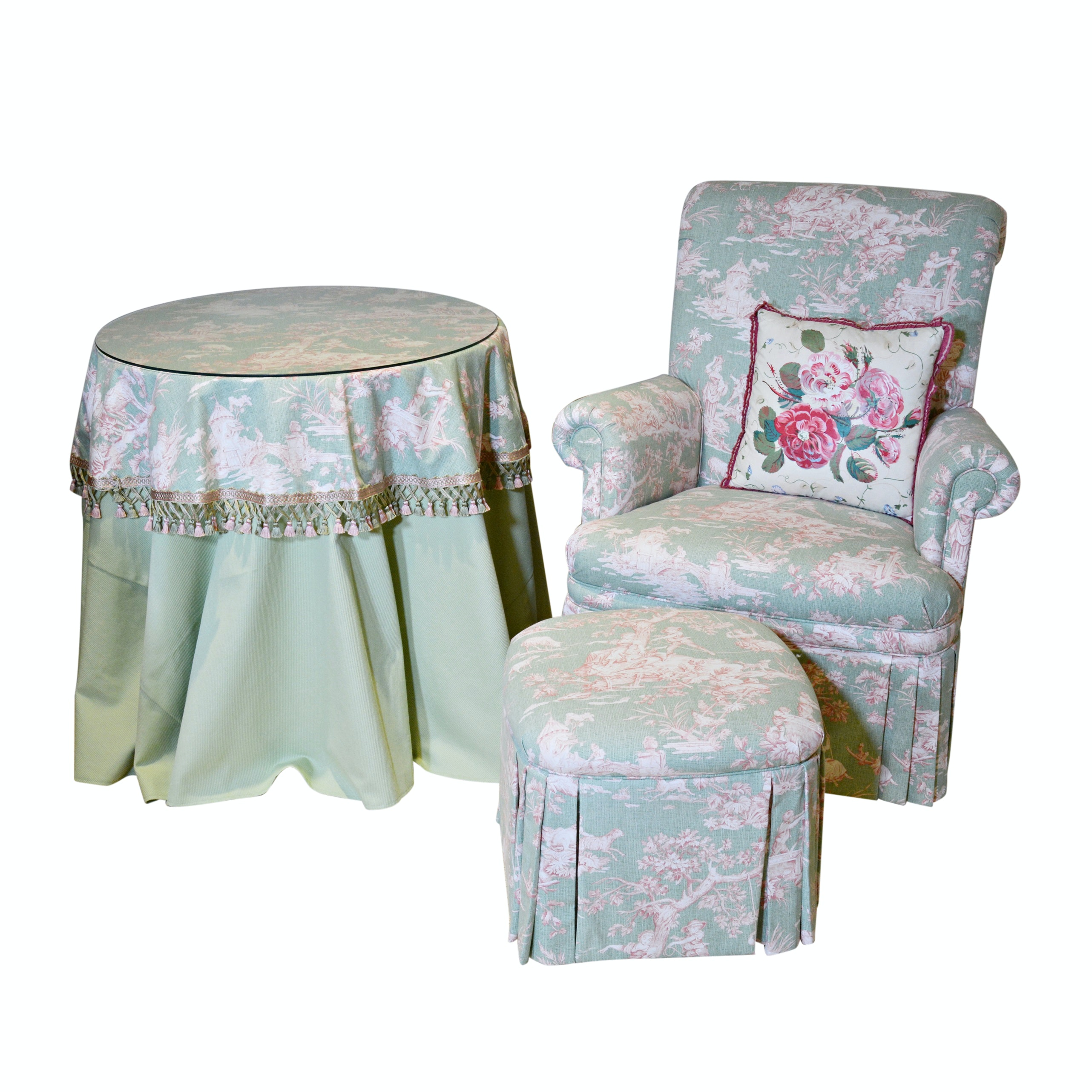 Mint Toile Upholstered Armchair and Ottoman by Michael Thomas Furniture