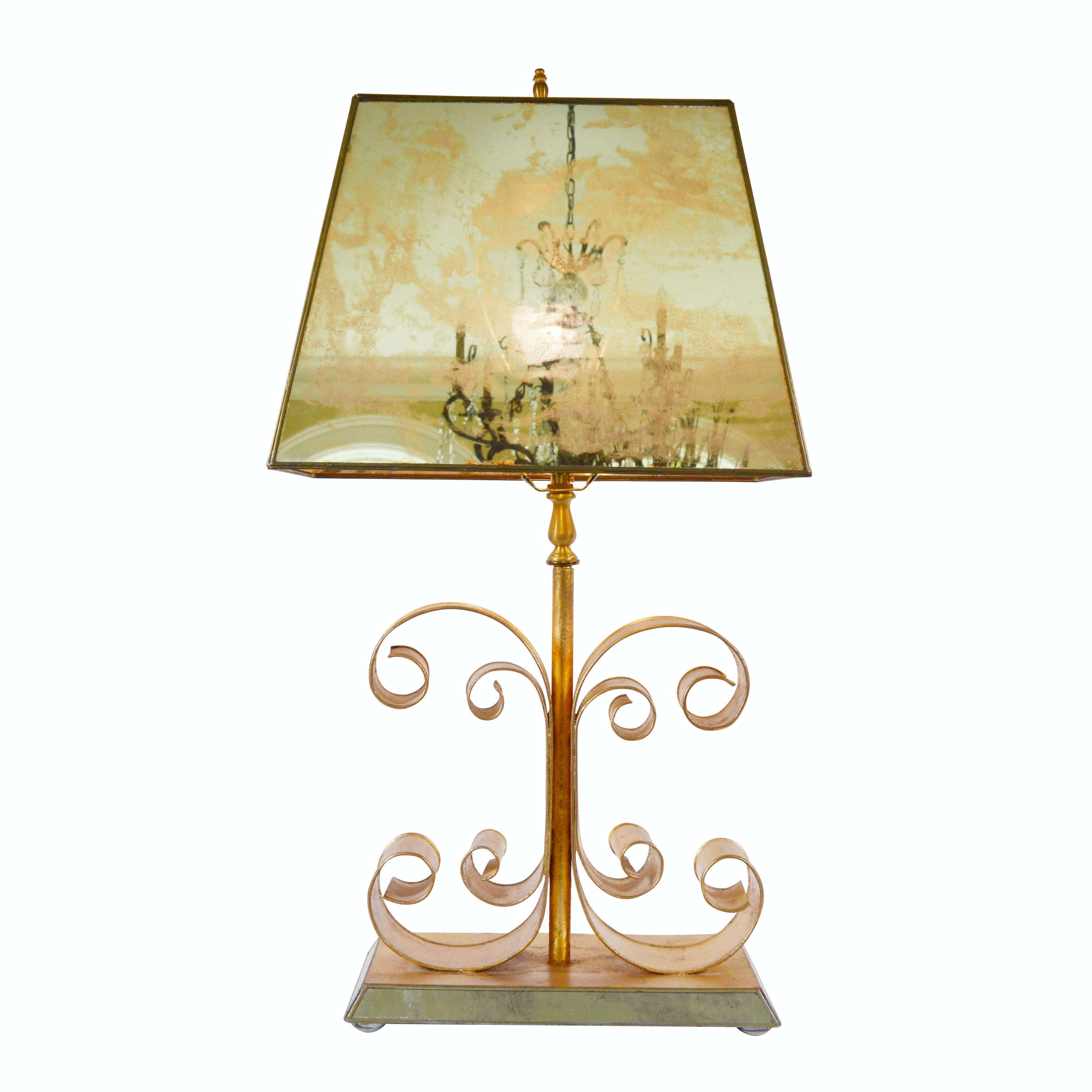 Scroll Metal Table Lamp With Mirrored Shade