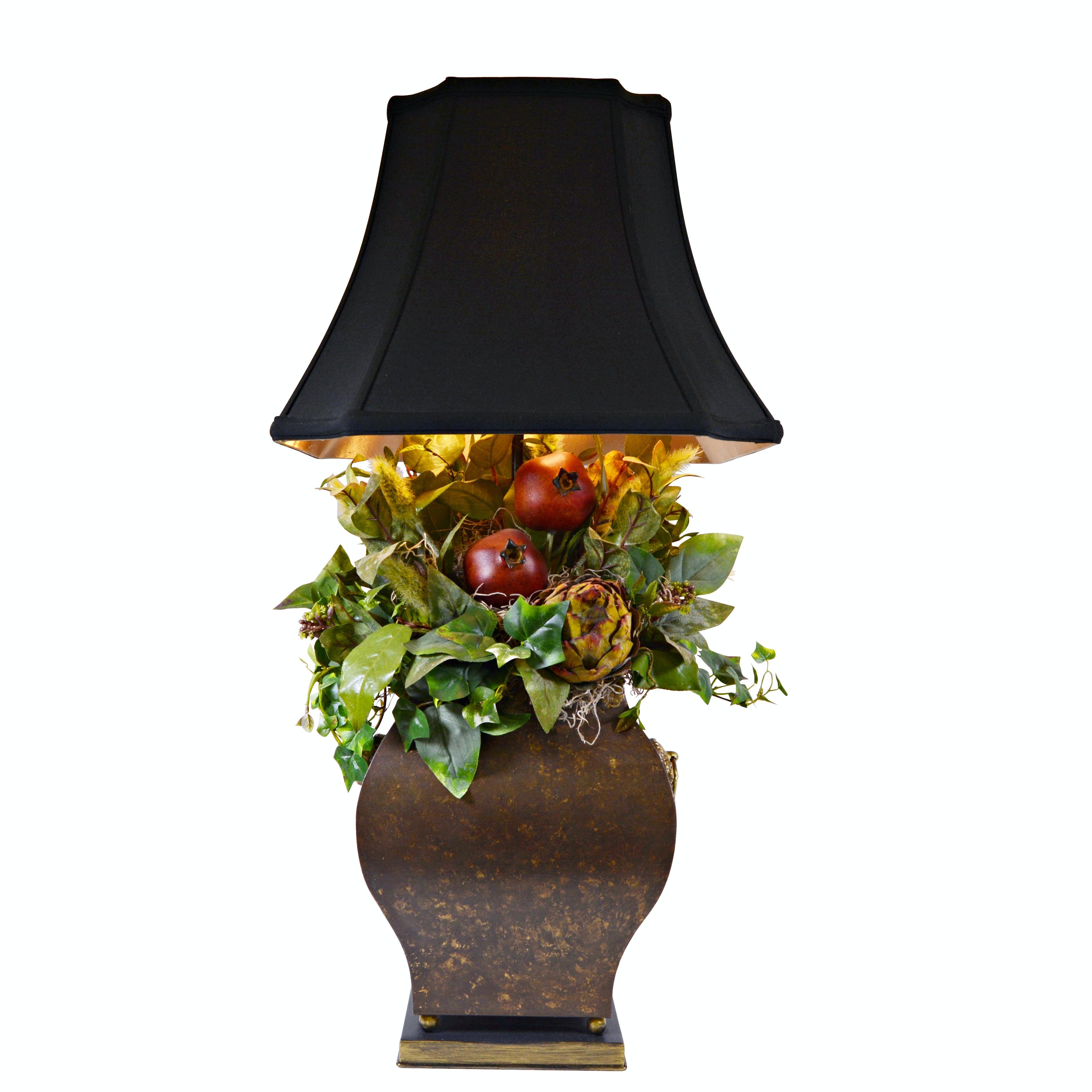 Signed Silk Arrangement Metal Vessel Table Lamp