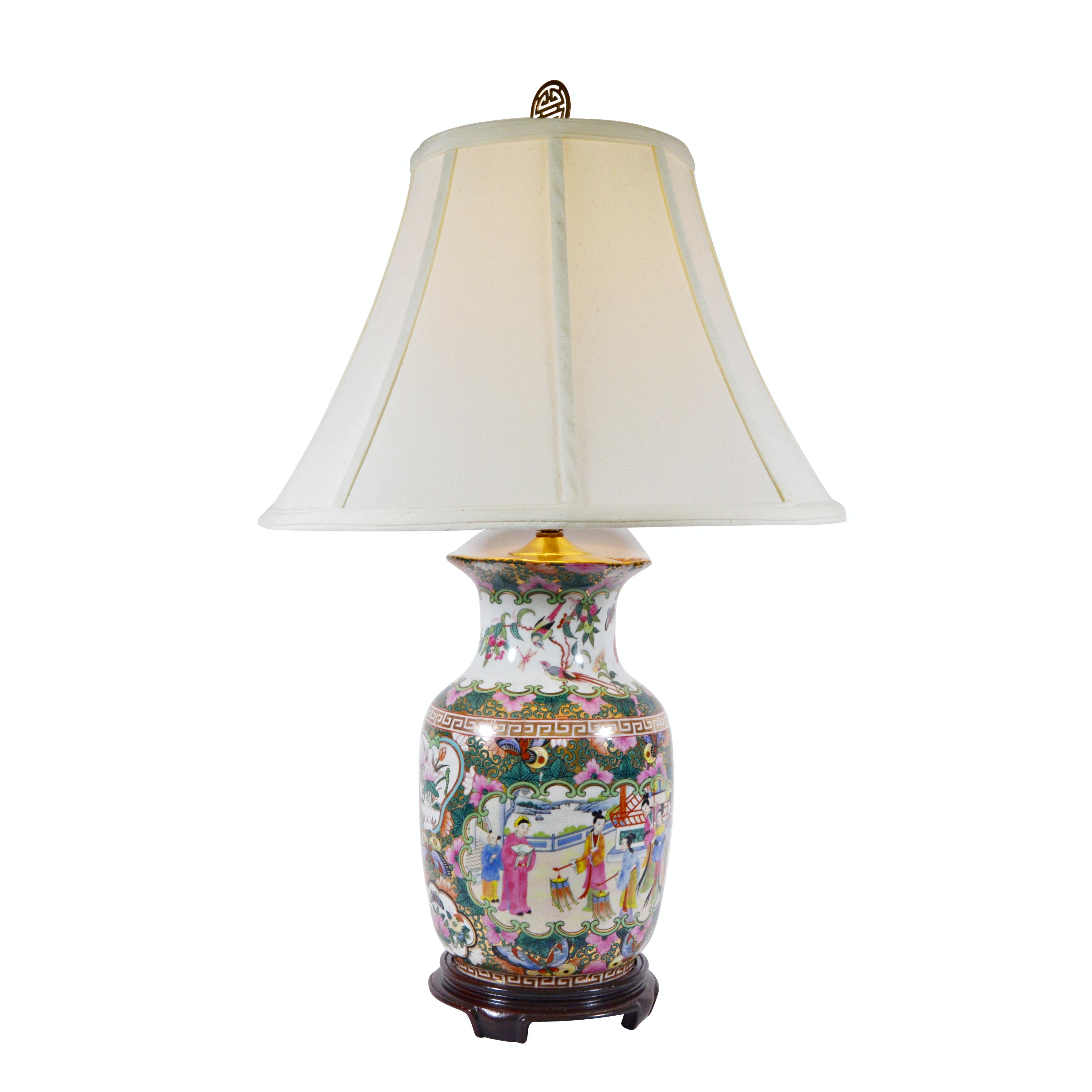 Floral Asian Porcelain Vase Table Lamp