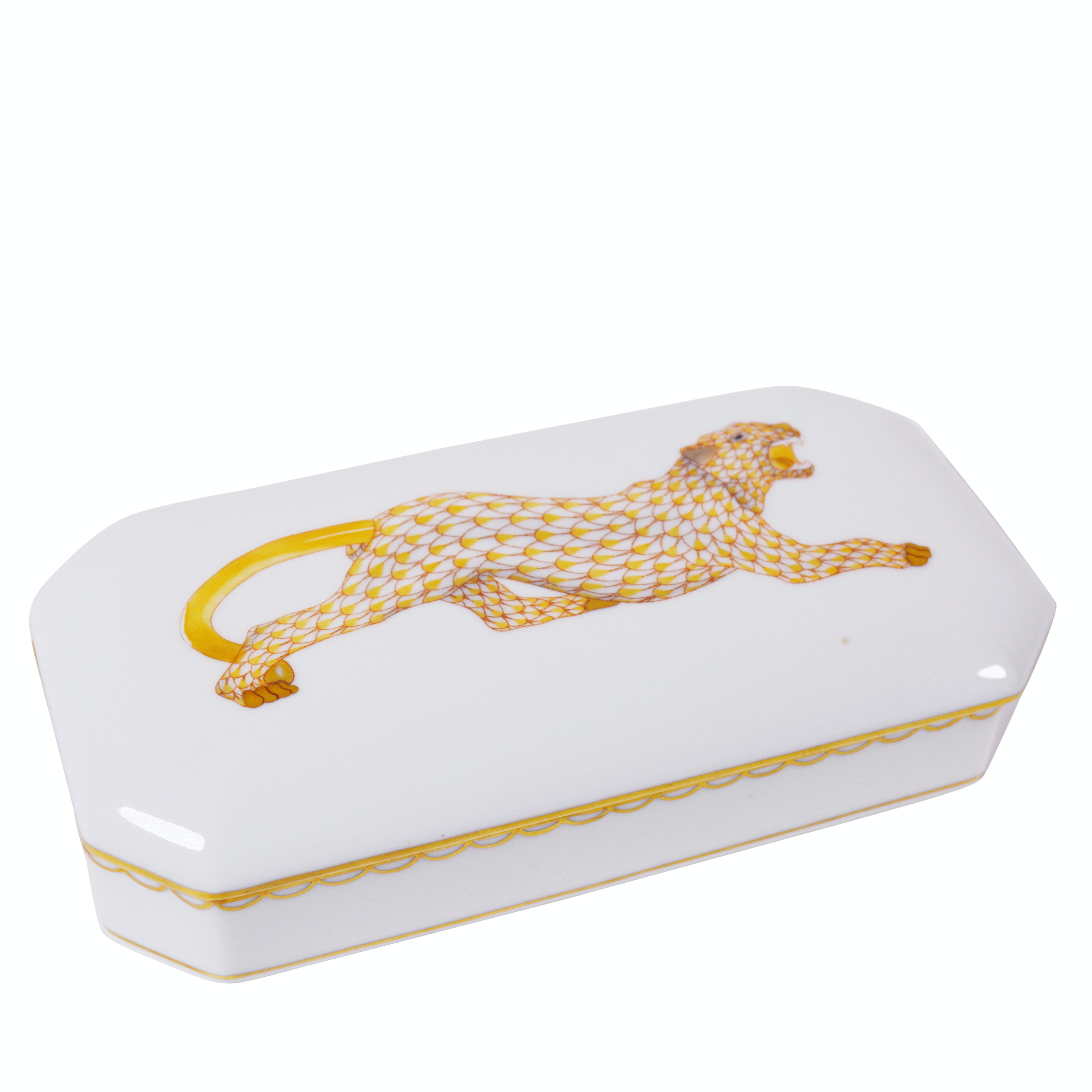 Herend First Edition Leopard Oblong Porcelain Trinket Box