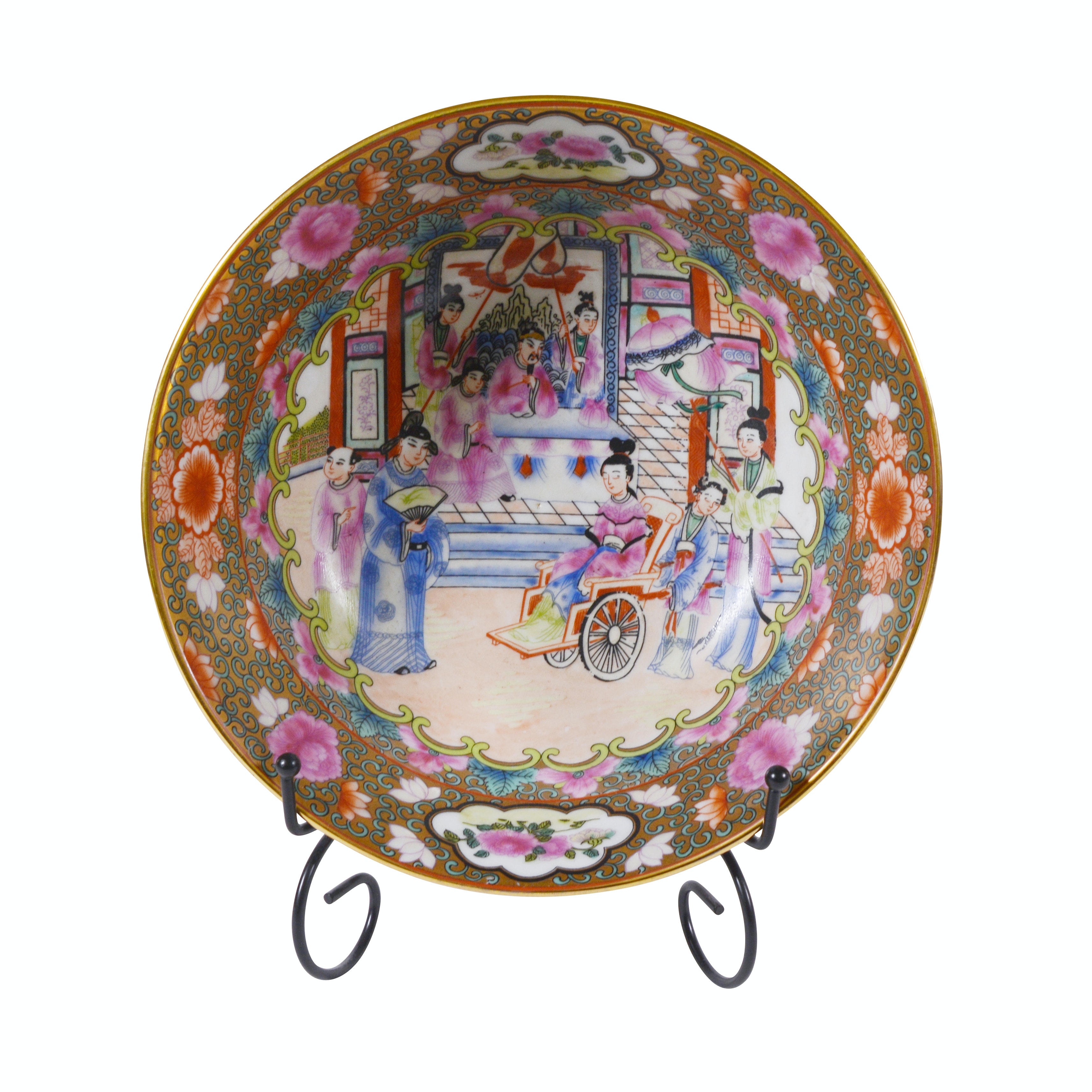 Chinese Rose Medallion Style Painted Porcelain Bowl
