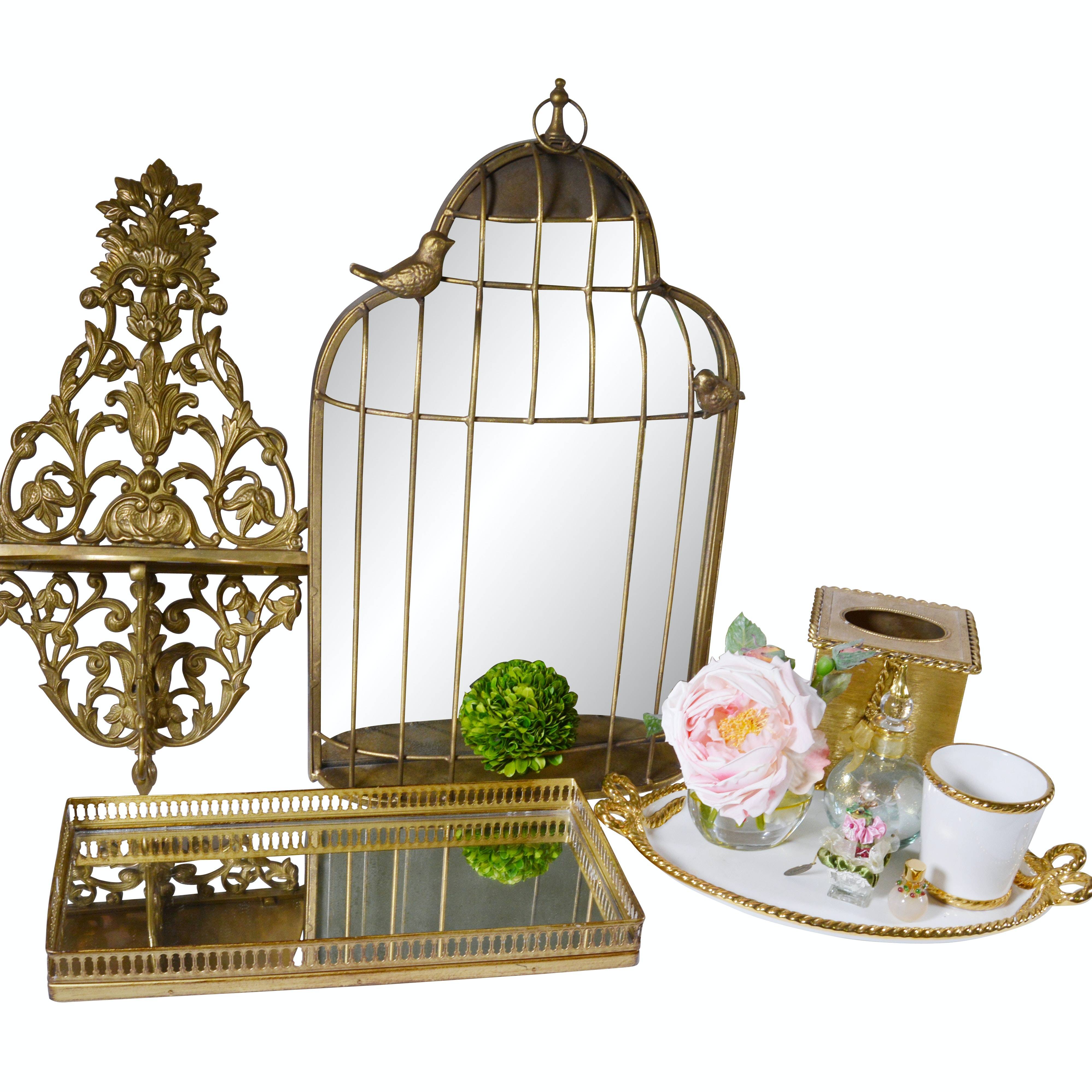 Brass Vanity Tray, Wall Birdcage and Other Decor