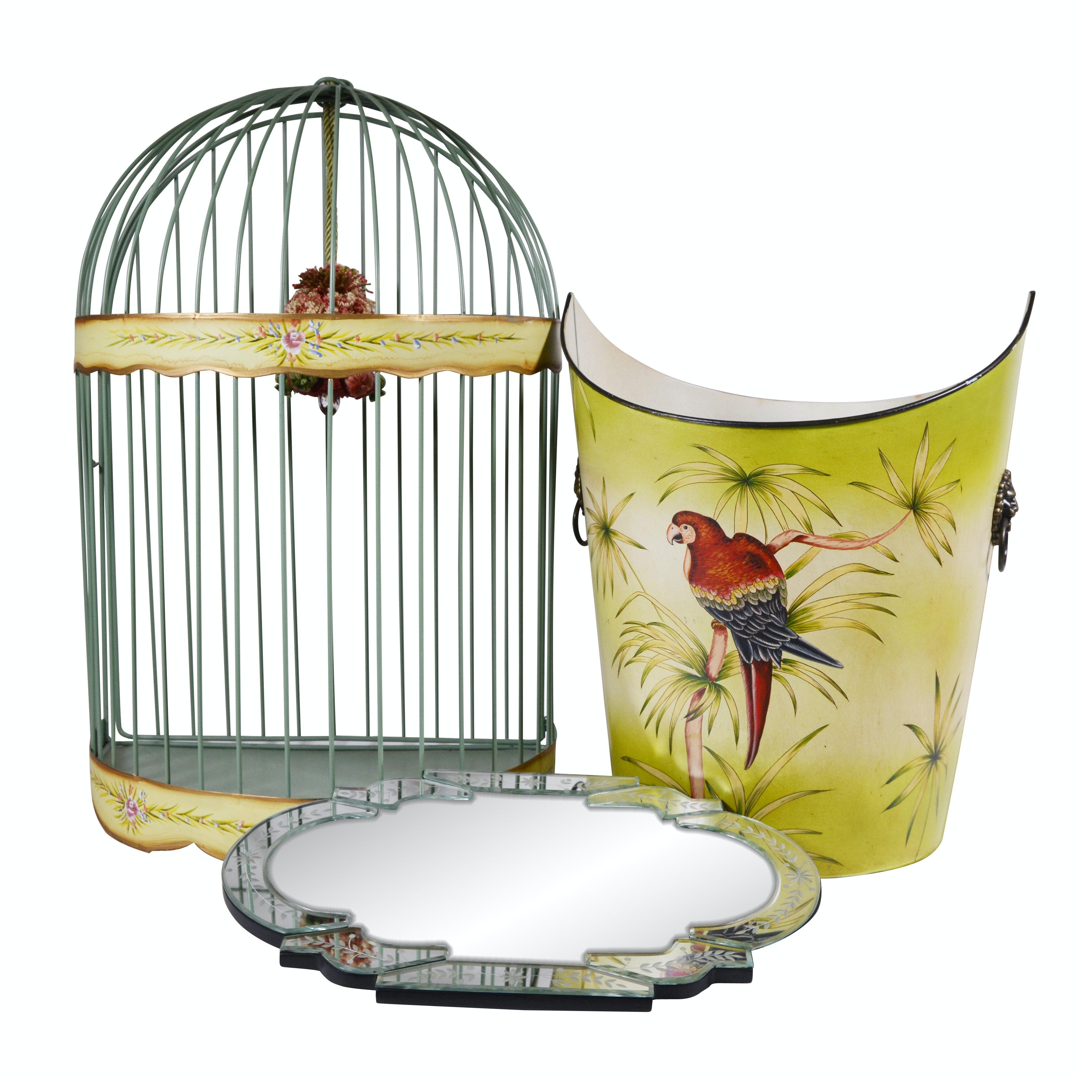 Metal Wastebasket, Birdcage and Mirrored Vanity Tray