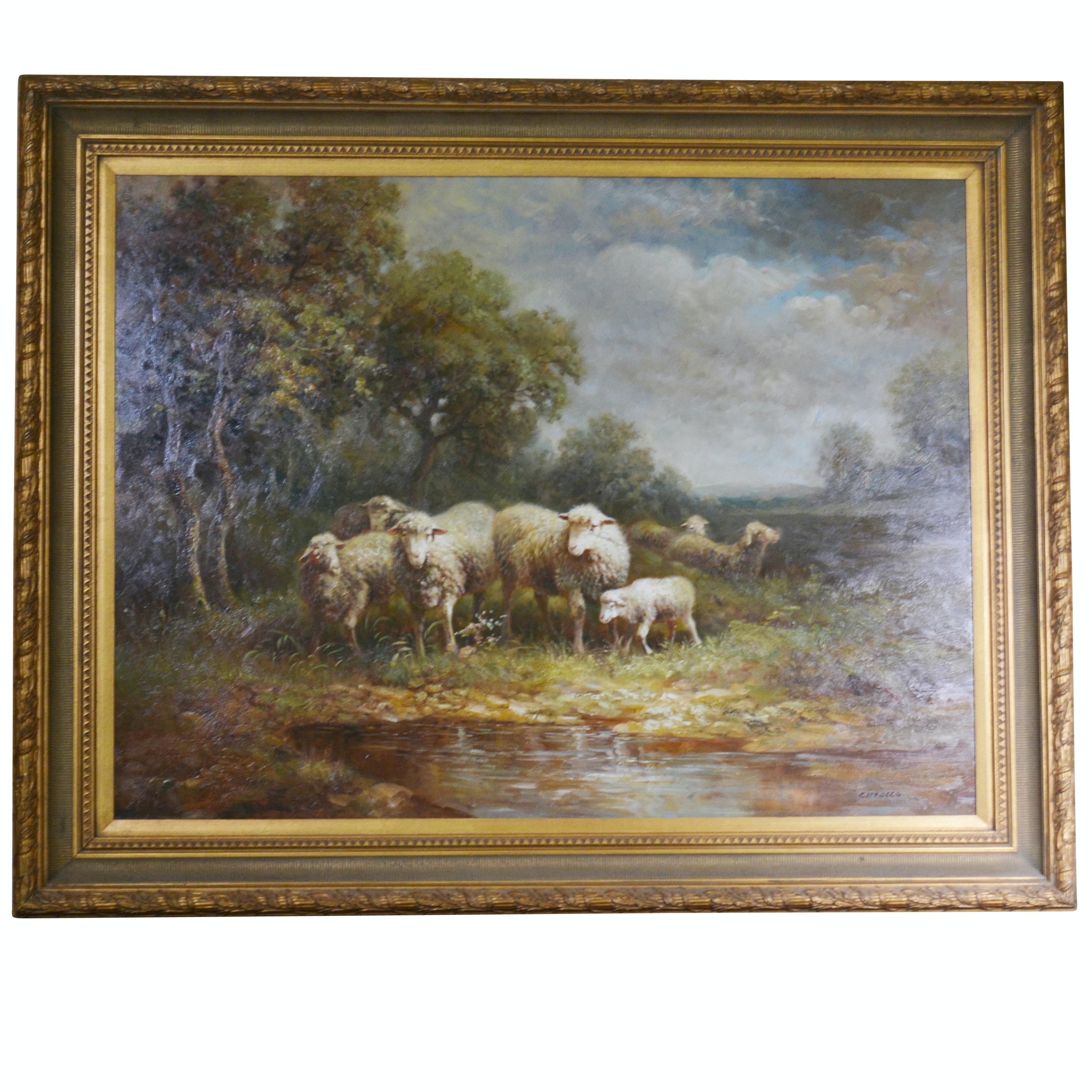 Cirrollo Original Oil Painting of Sheep