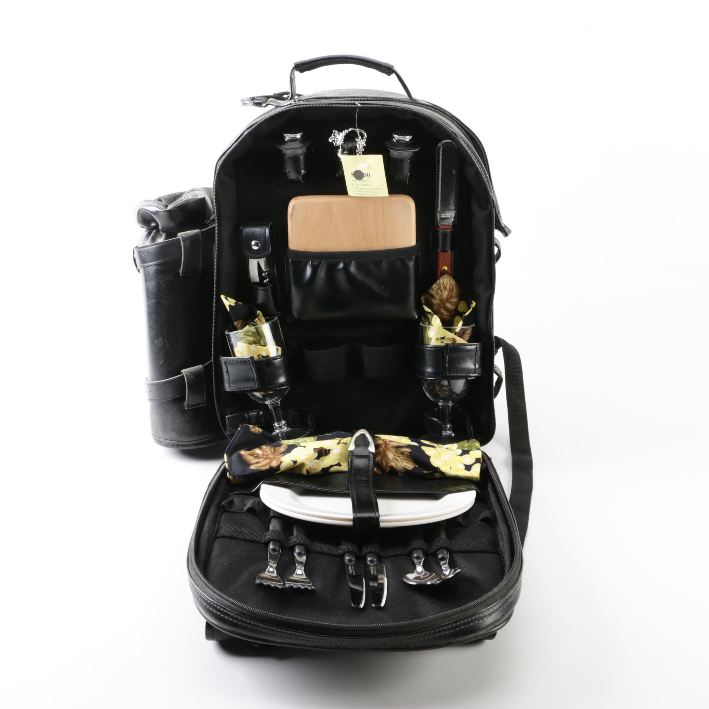 Vintage Legacy Black Leather Picnic Backpack