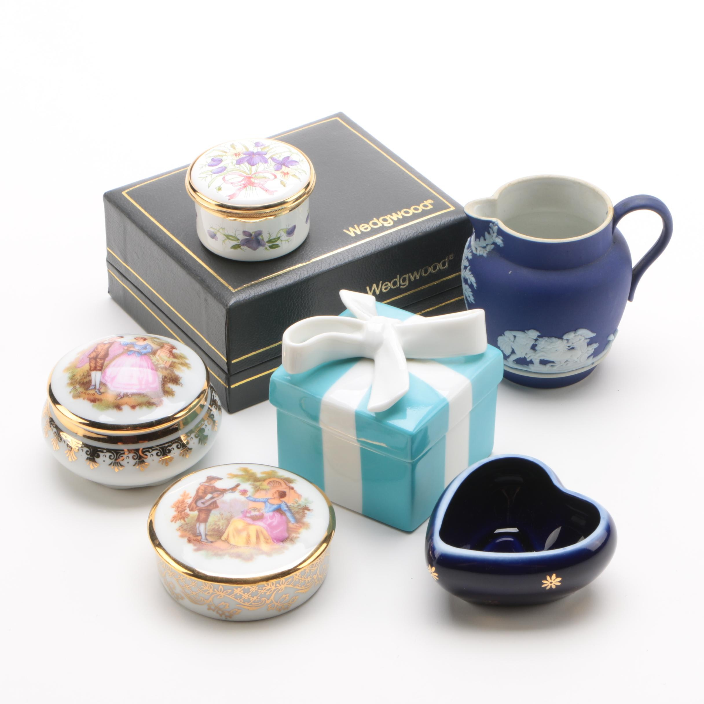 Porcelain Trinket Boxes and Decor Including Limoges, Tiffany & Co. and Wedgwood
