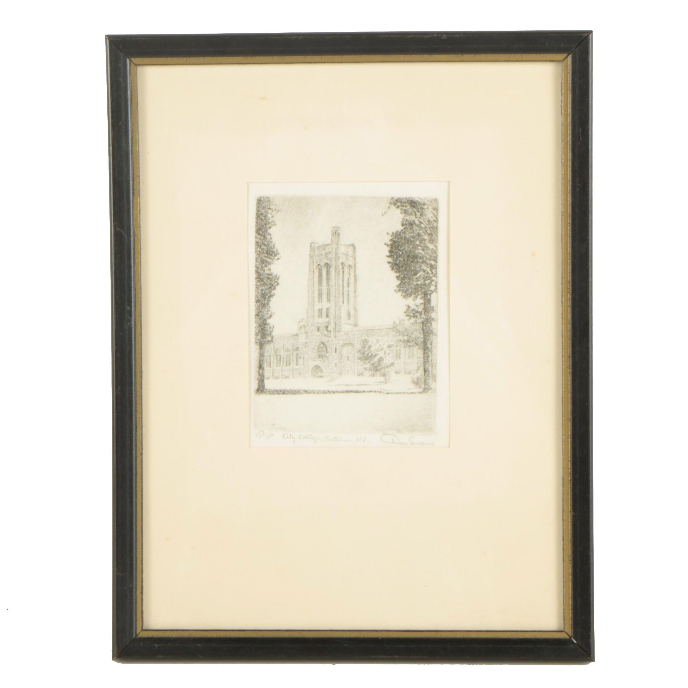 """After Don Swann 20th Century Etching """"City College, Baltimore, Md."""""""