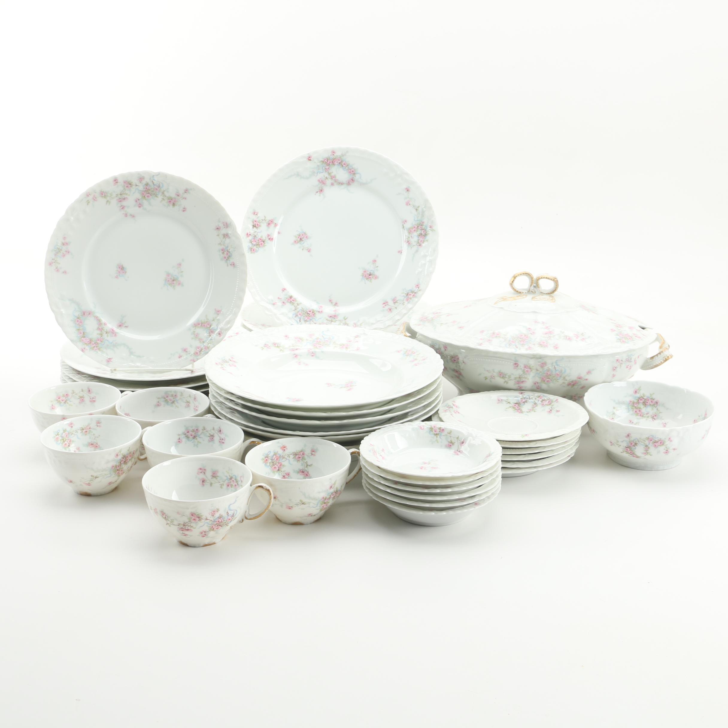 Vintage Theodore Haviland Limoges Pink Rose Motif Porcelain Tableware