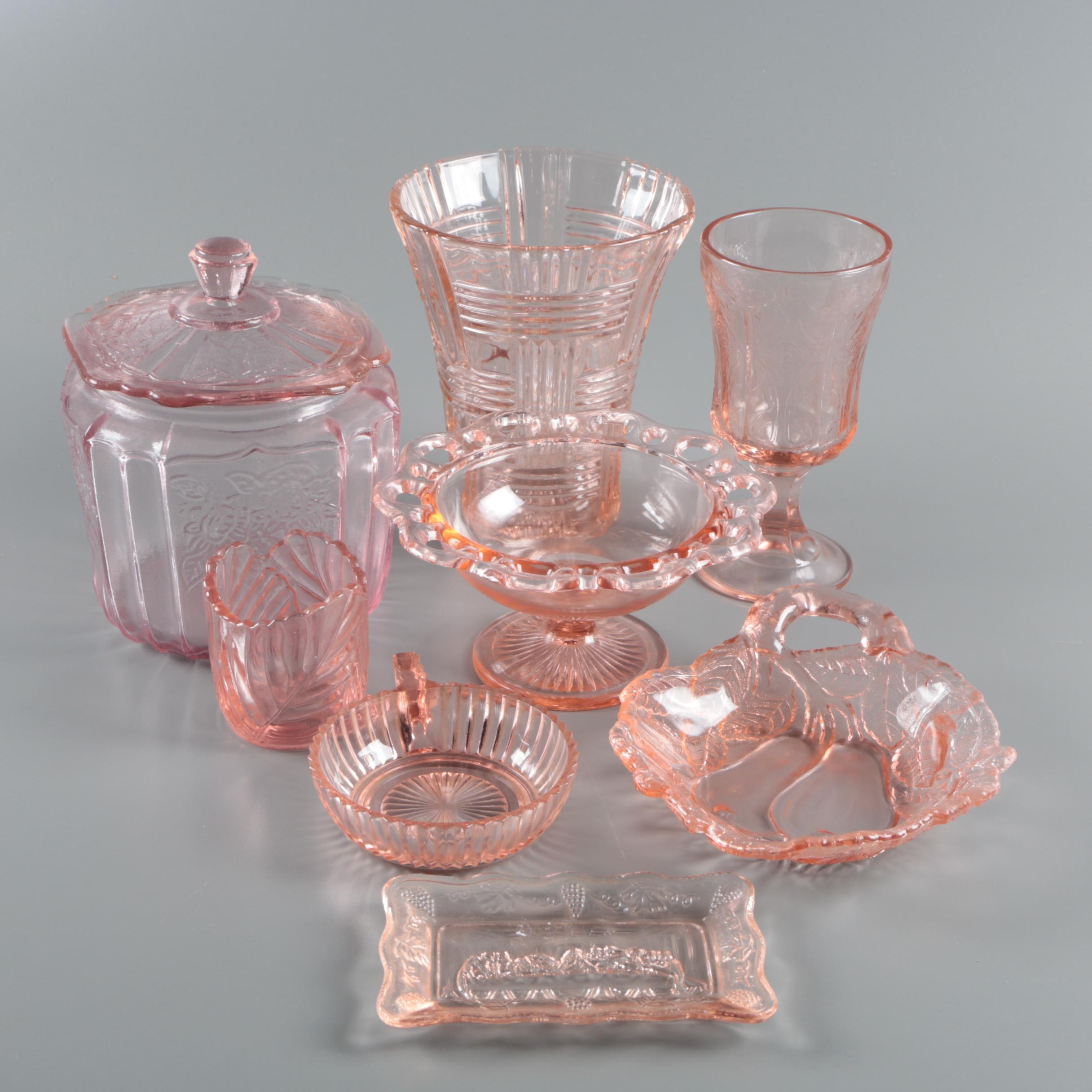 """Pink Depression Glass Featuring Anchor Hocking """"Mayfair Pink"""" Cookie Jar"""