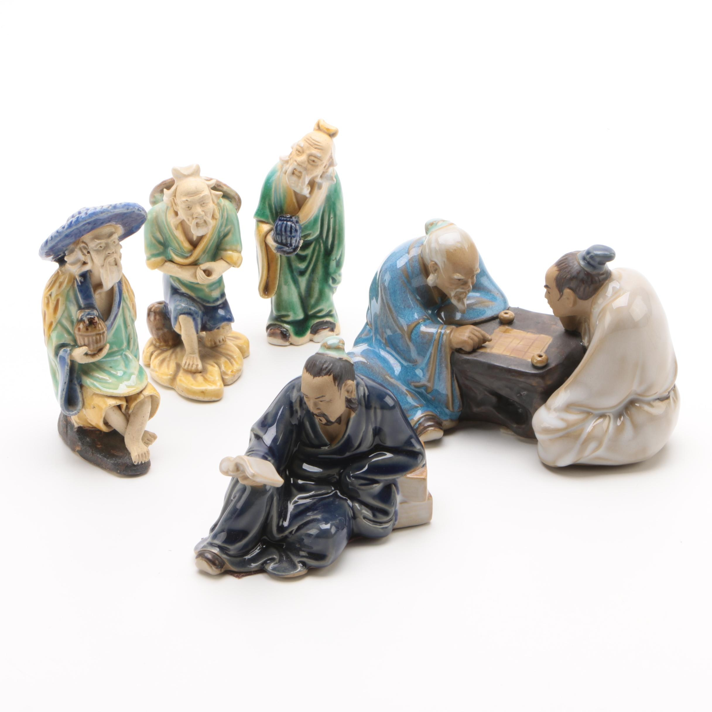 Chinese Shiwan Ware Ceramic Figurines