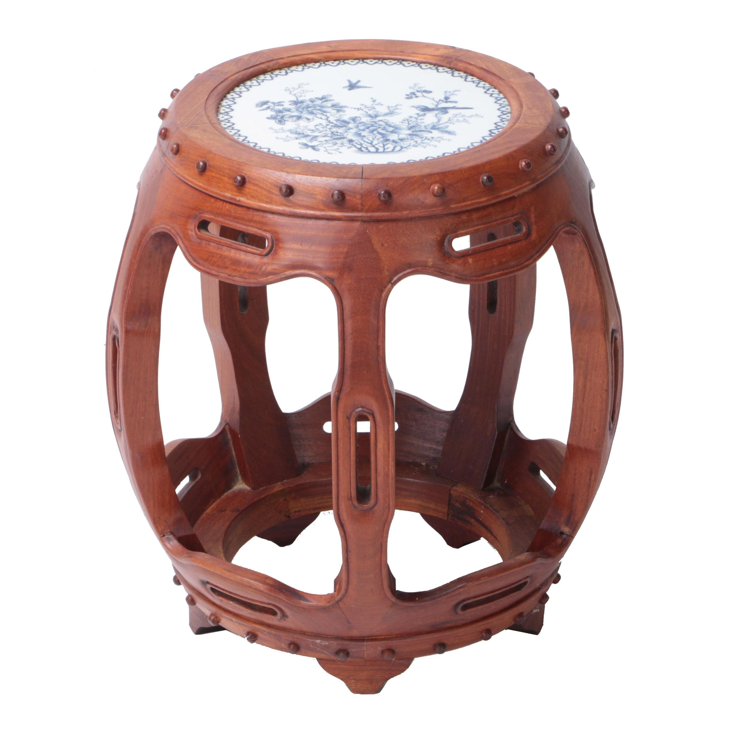 Chinese Wood and Ceramic Stool