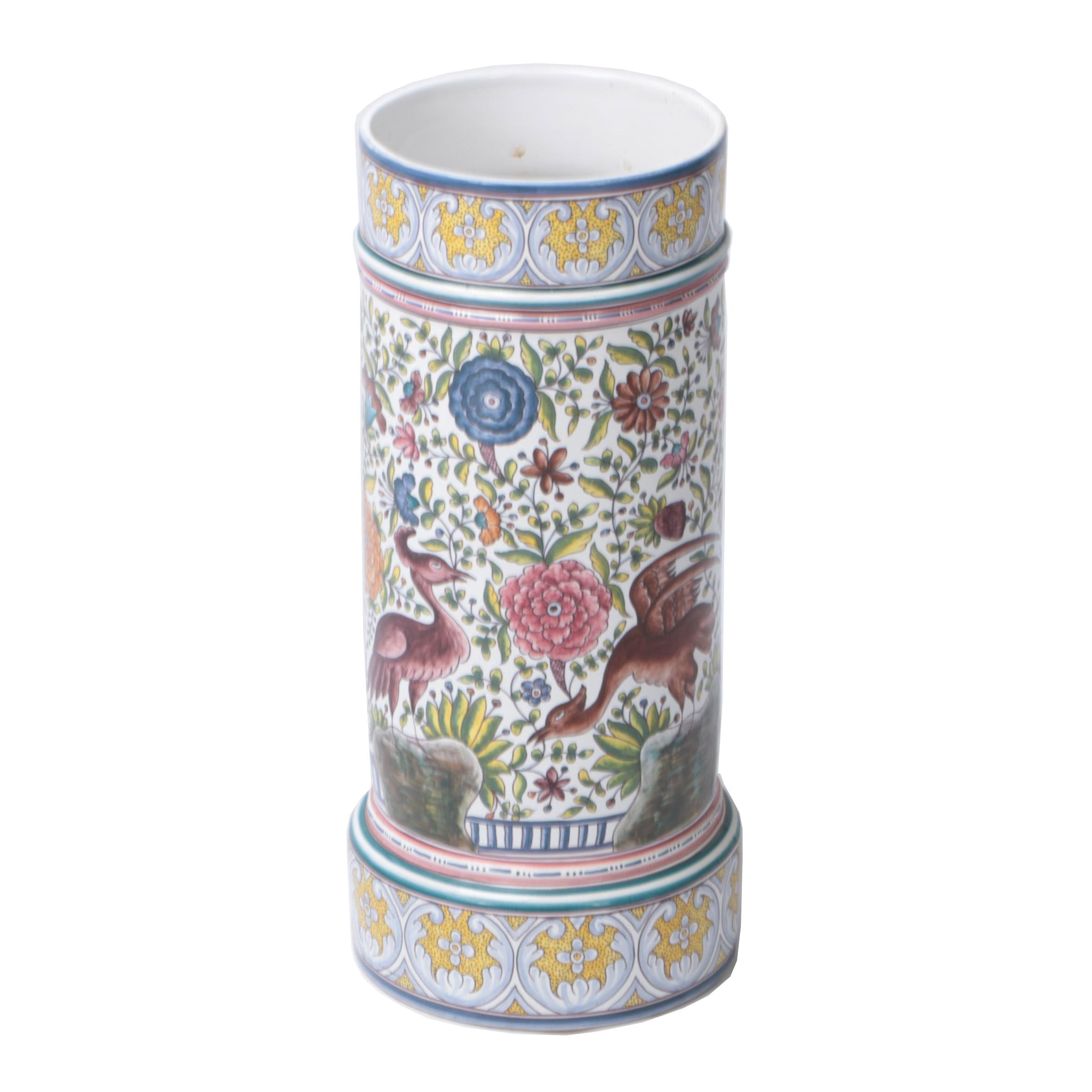 Estrela De Conimbriga Portugal Hand-Painted Ceramic Umbrella Stand