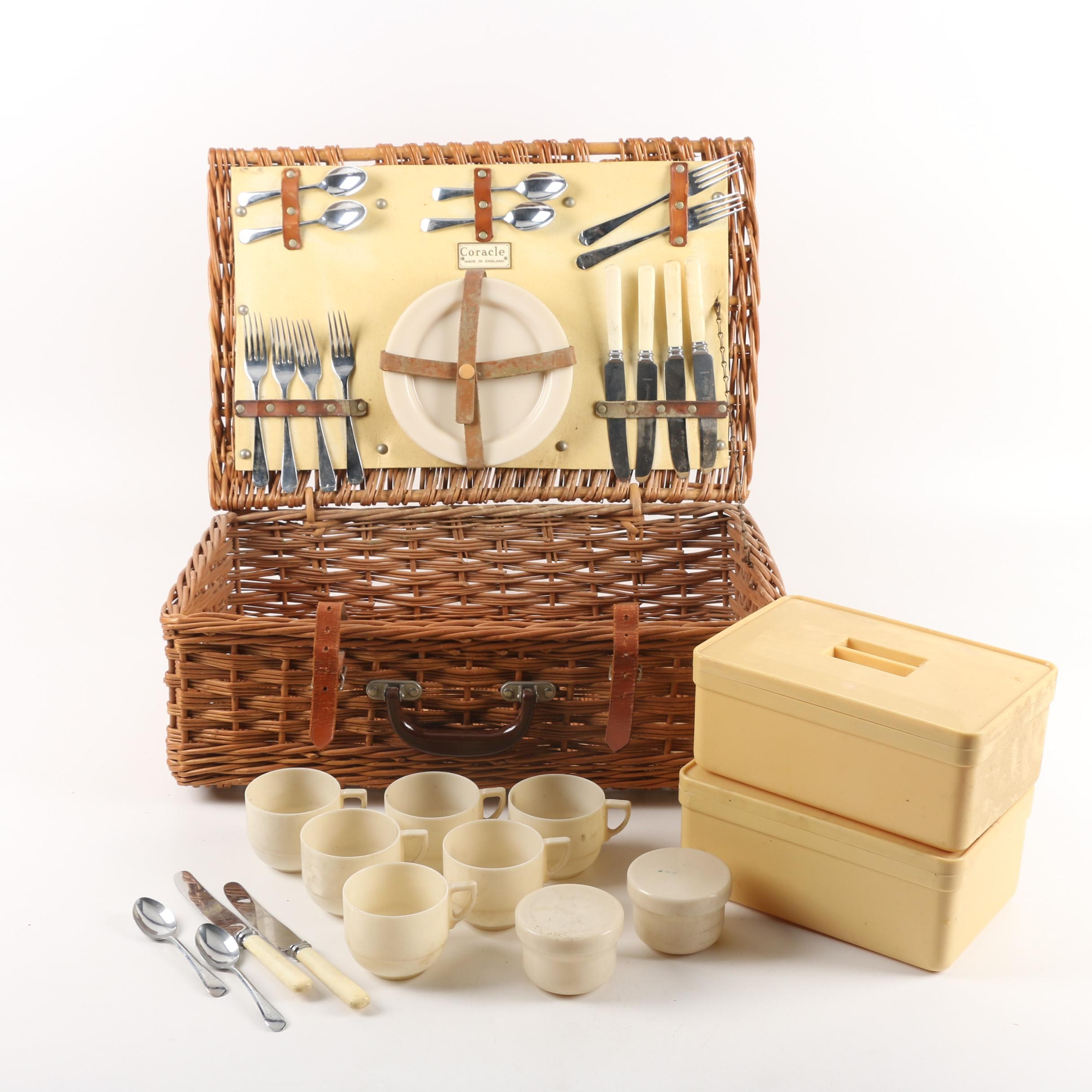 Vintage English Coracle Picnic Basket With Dinnerware