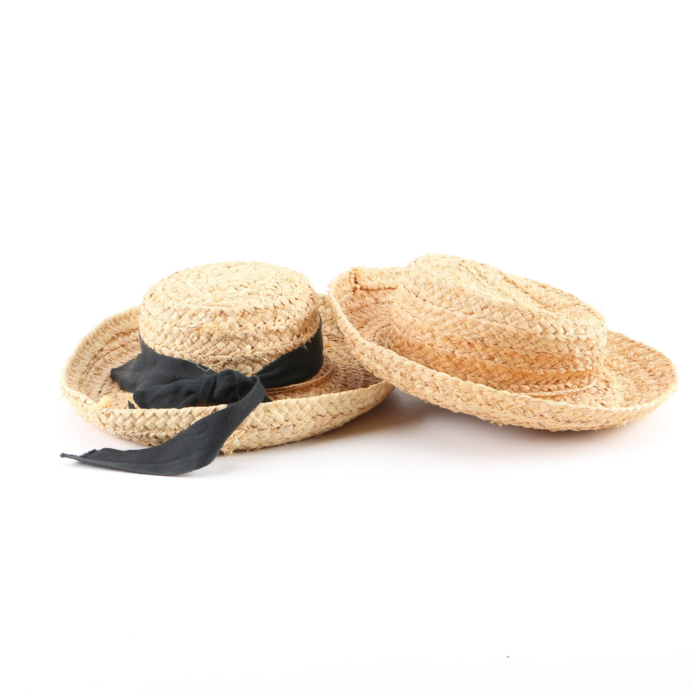 Women's Woven Raffia Sun Hats Featuring Scala