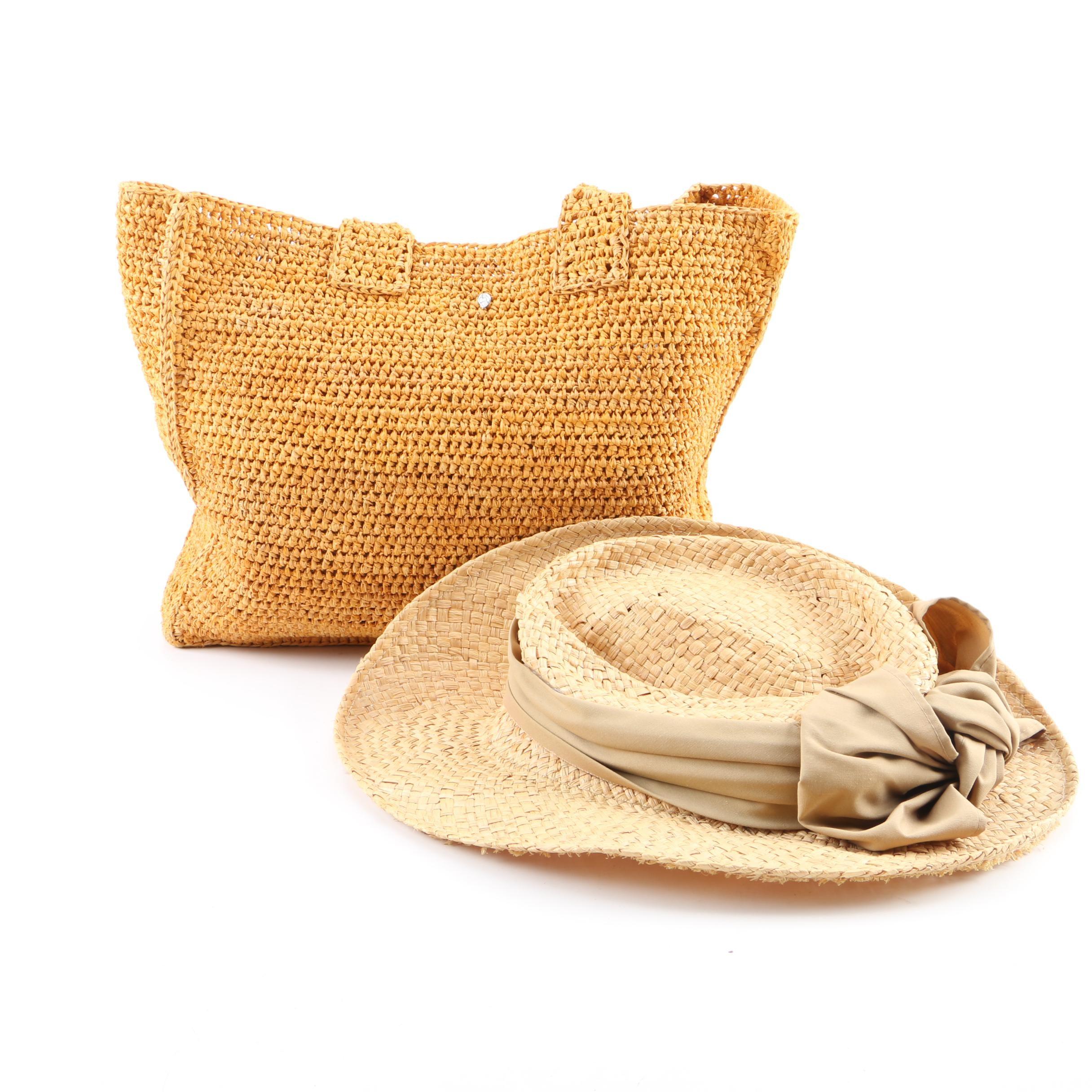 Helen Kaminski of Australia Woven Raffia Tote and Firethorn Woven Hat