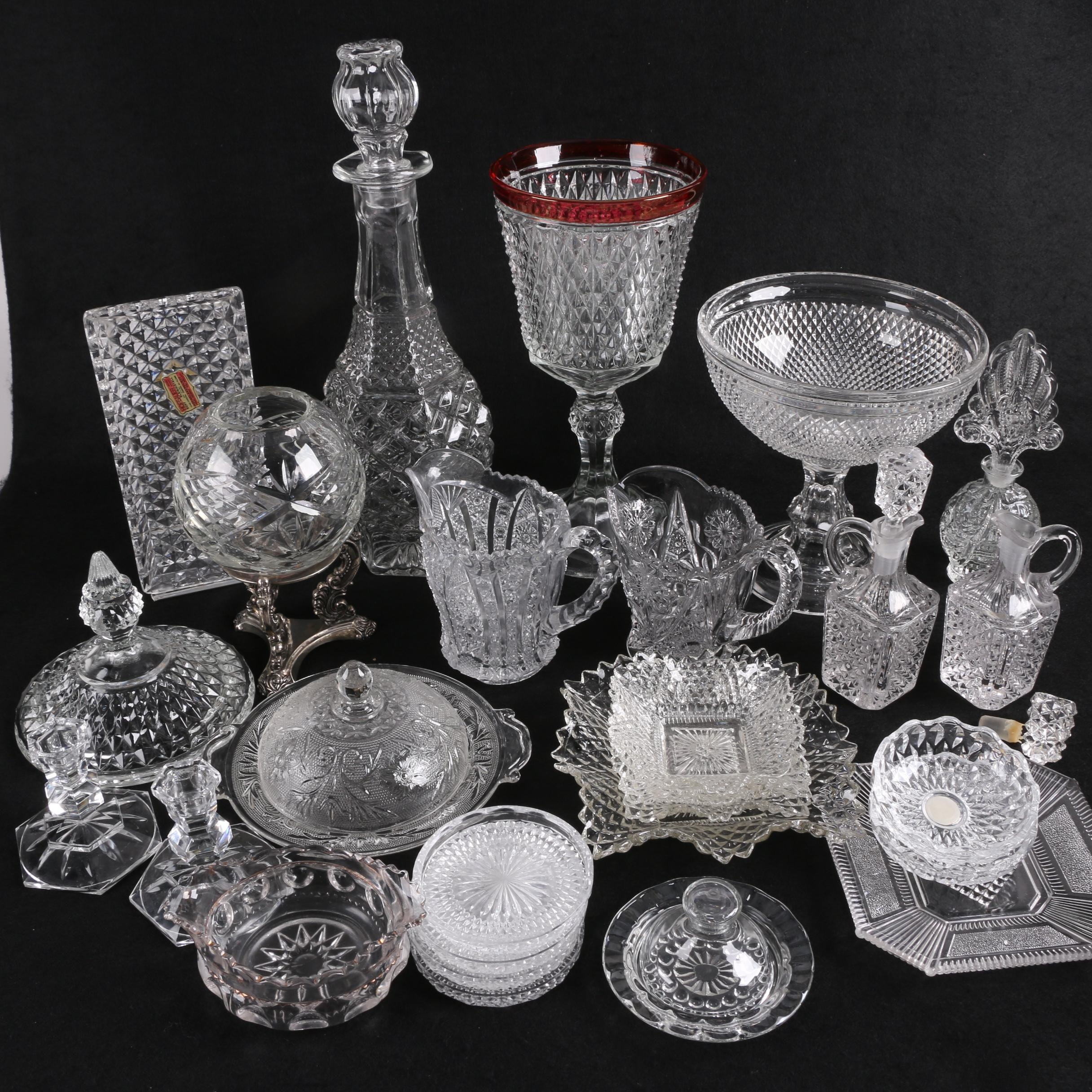 Towle Crystal Candleholders with Other Assorted Crystal and Glass Décor