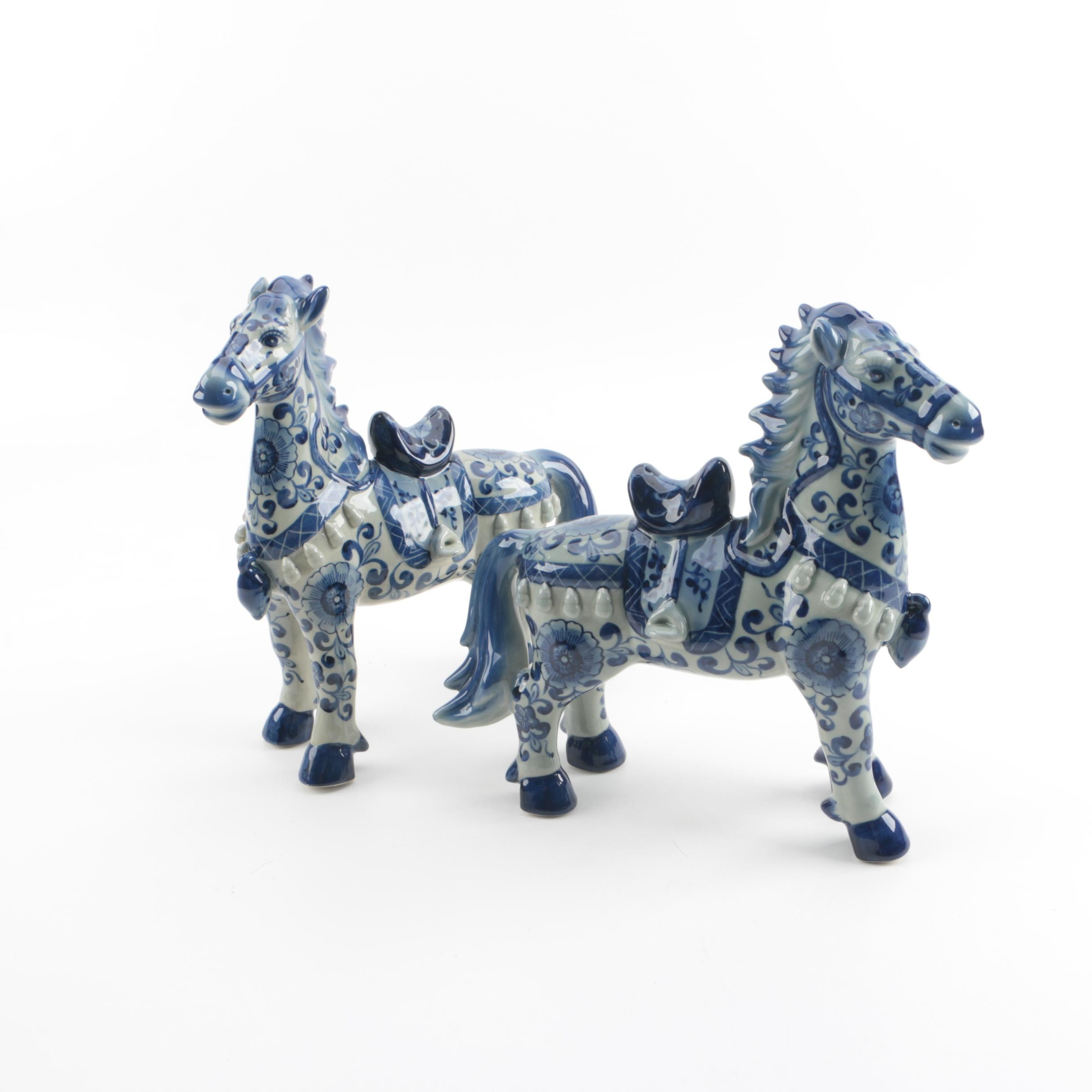 Chinese Hand-Painted Blue and White Porcelain Horse Figurines