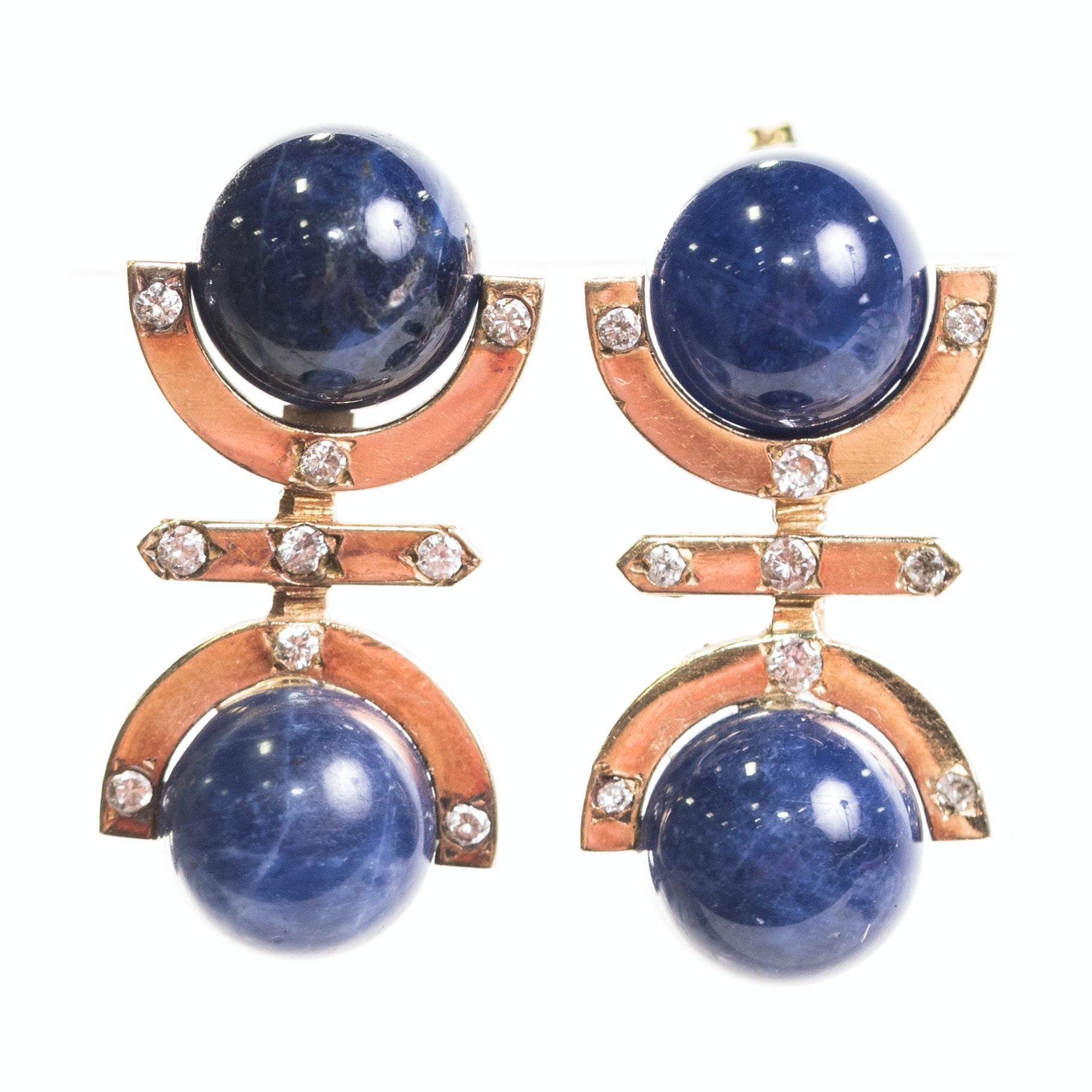 18K Yellow Gold, Lapis Lazuli, and Diamond Earrings