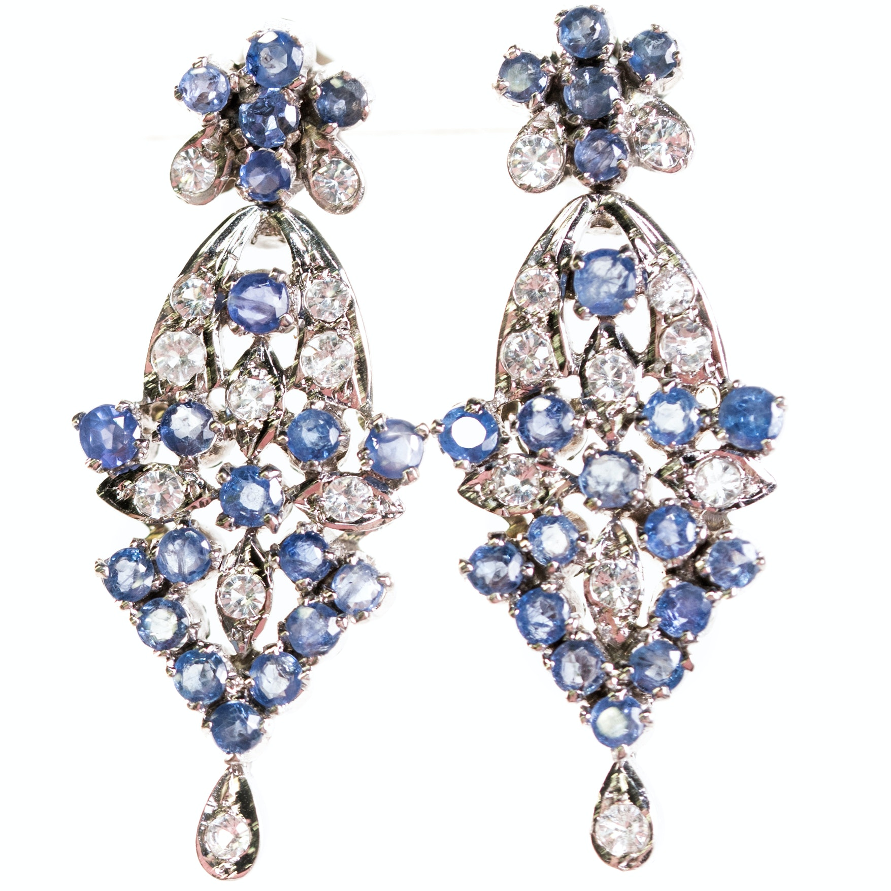 Sterling Silver, 2.50 CTW Sapphire, and White Topaz Dangle Earrings