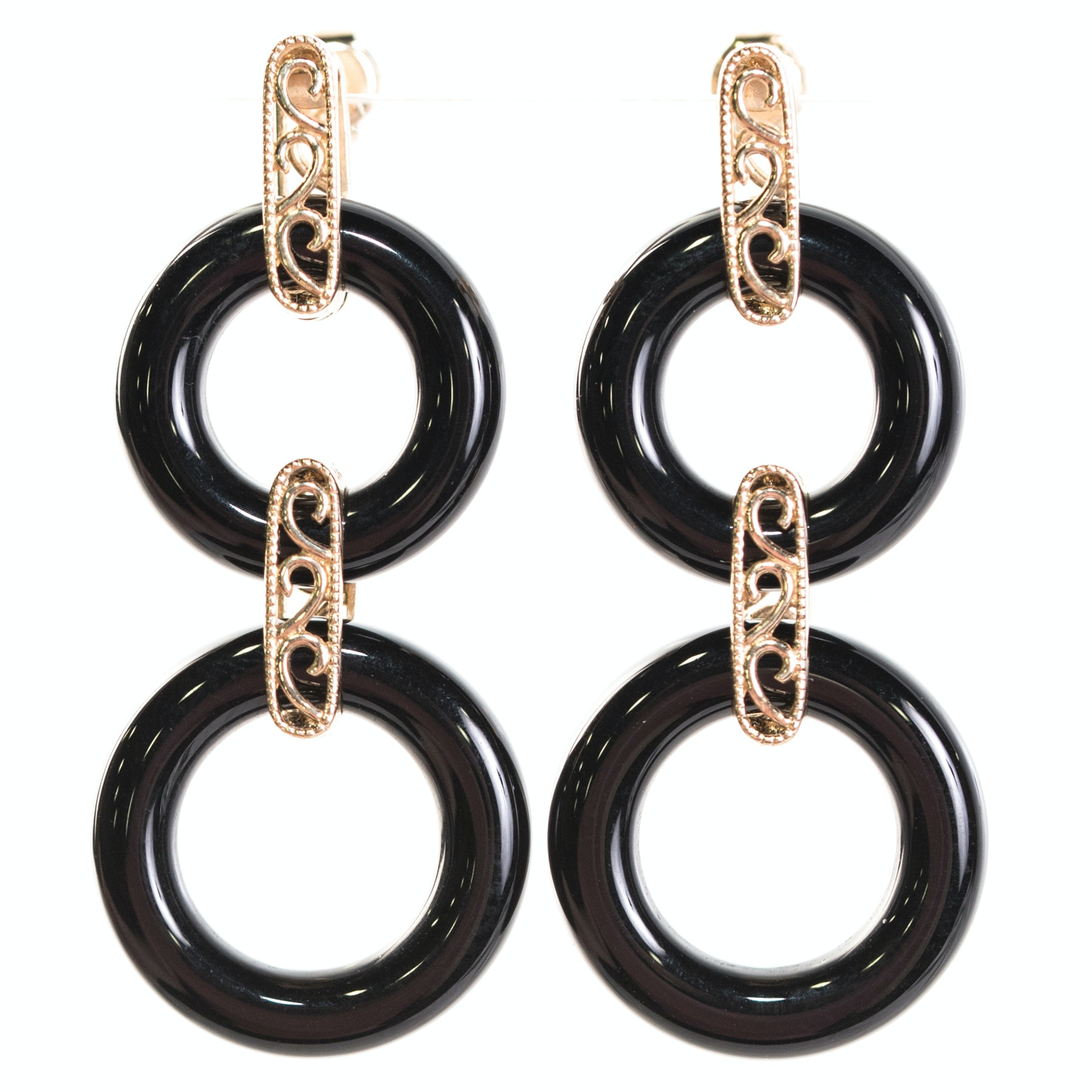 14K Yellow Gold and Black Onyx Circle Dangle Earrings