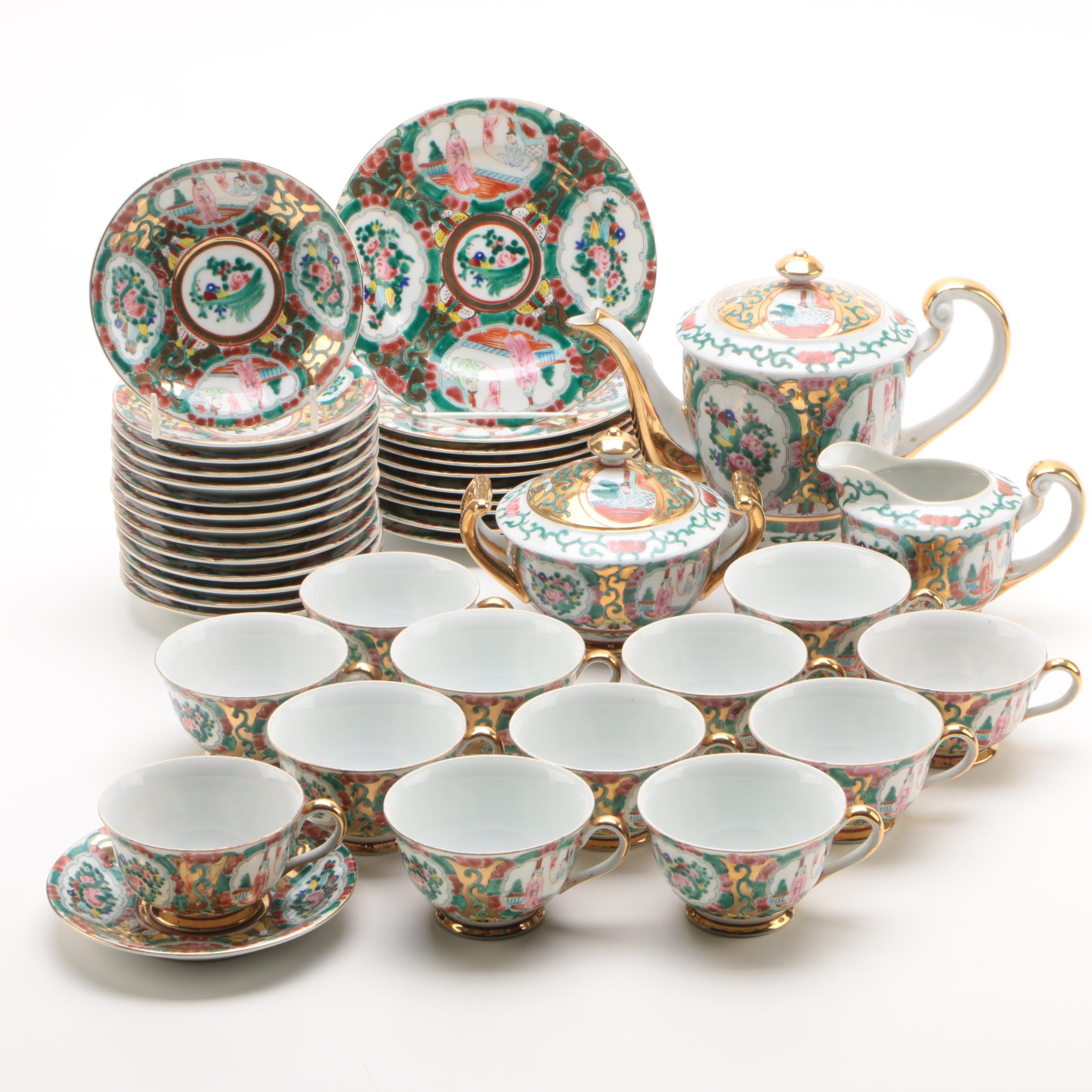 Chinese Hand-Painted Rose Medallion Porcelain Tea Service