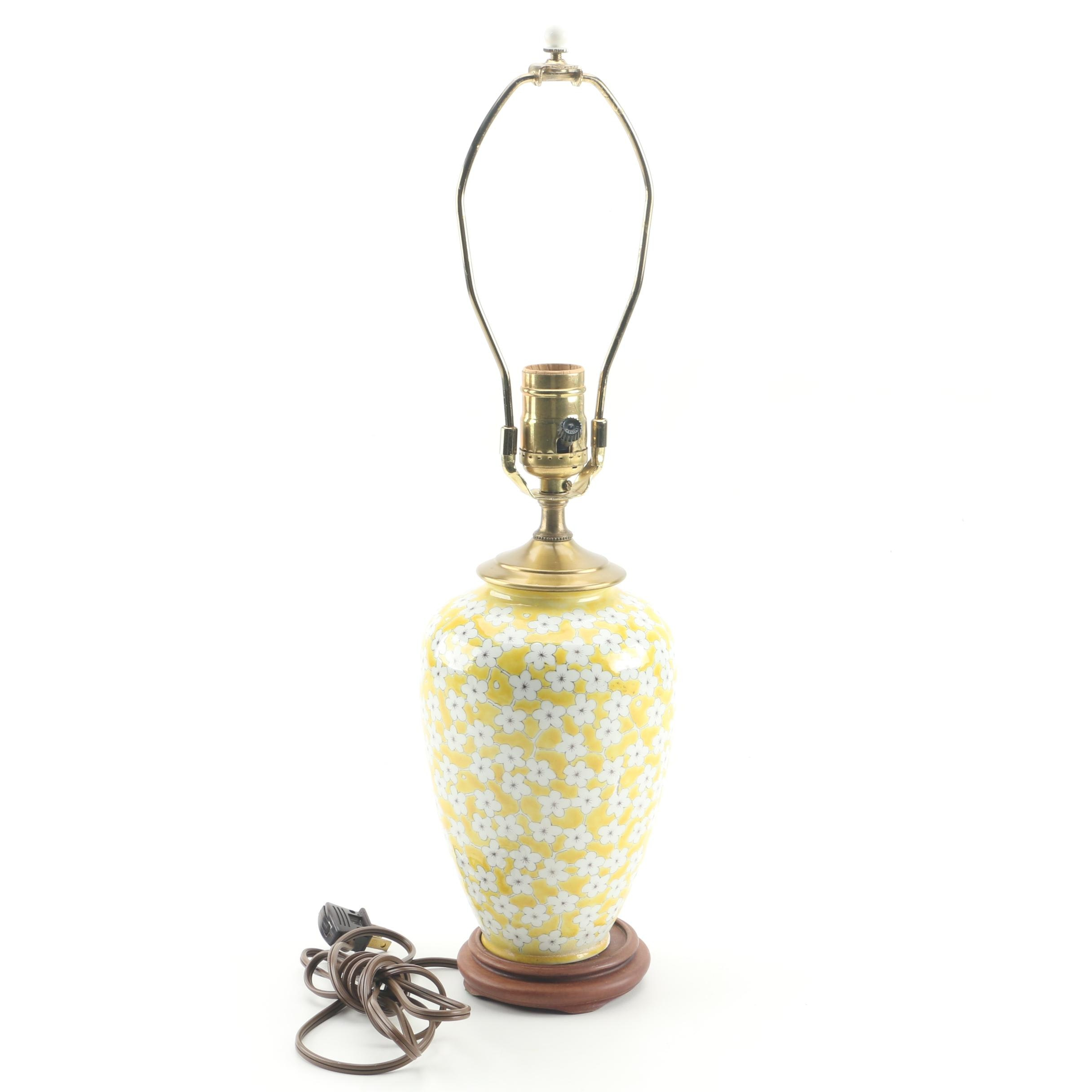 Yellow and White Floral Ceramic Urn Table Lamp