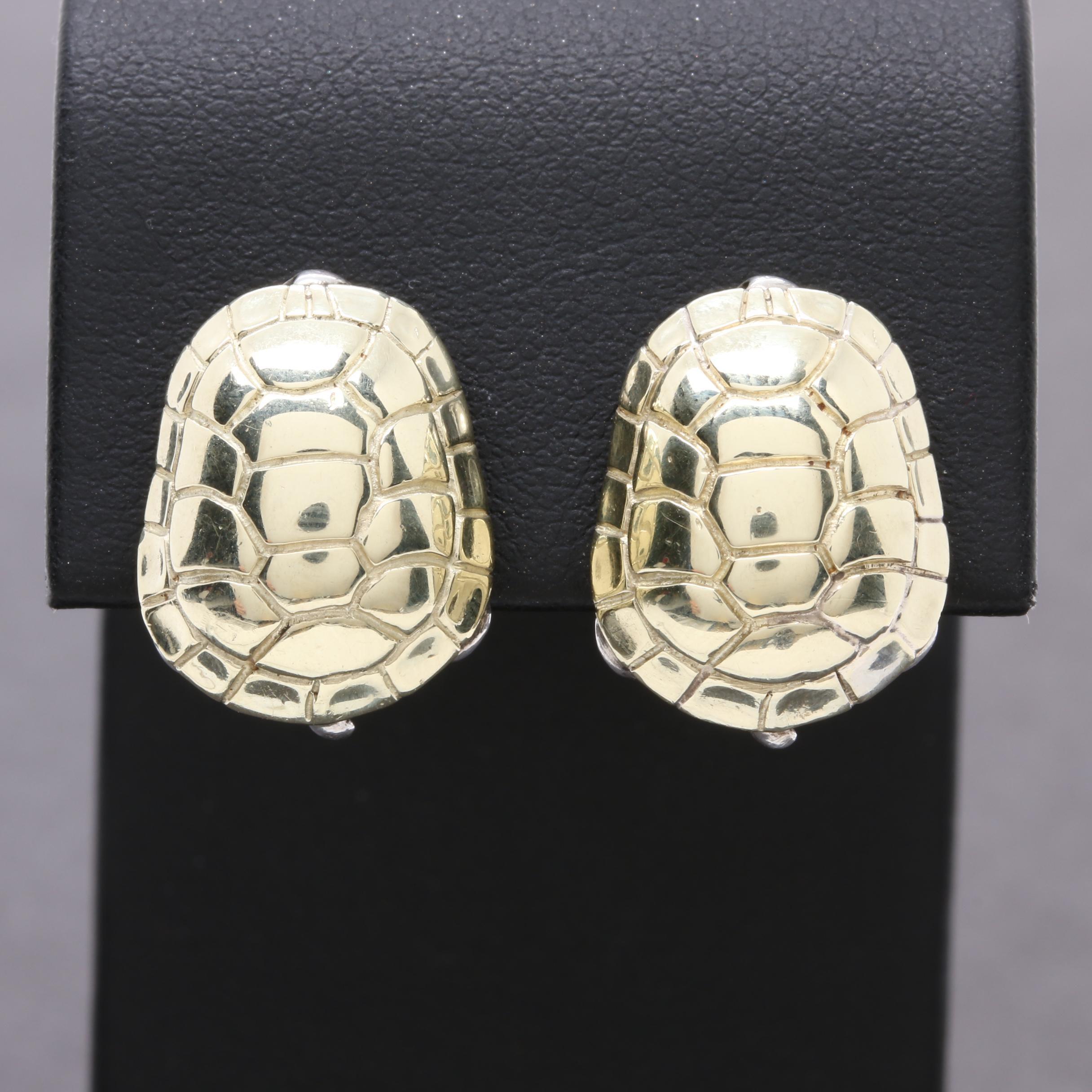 Barry Kieselstein-Cord Sterling Silver 14K Yellow Gold Tortoise Motif Earrings