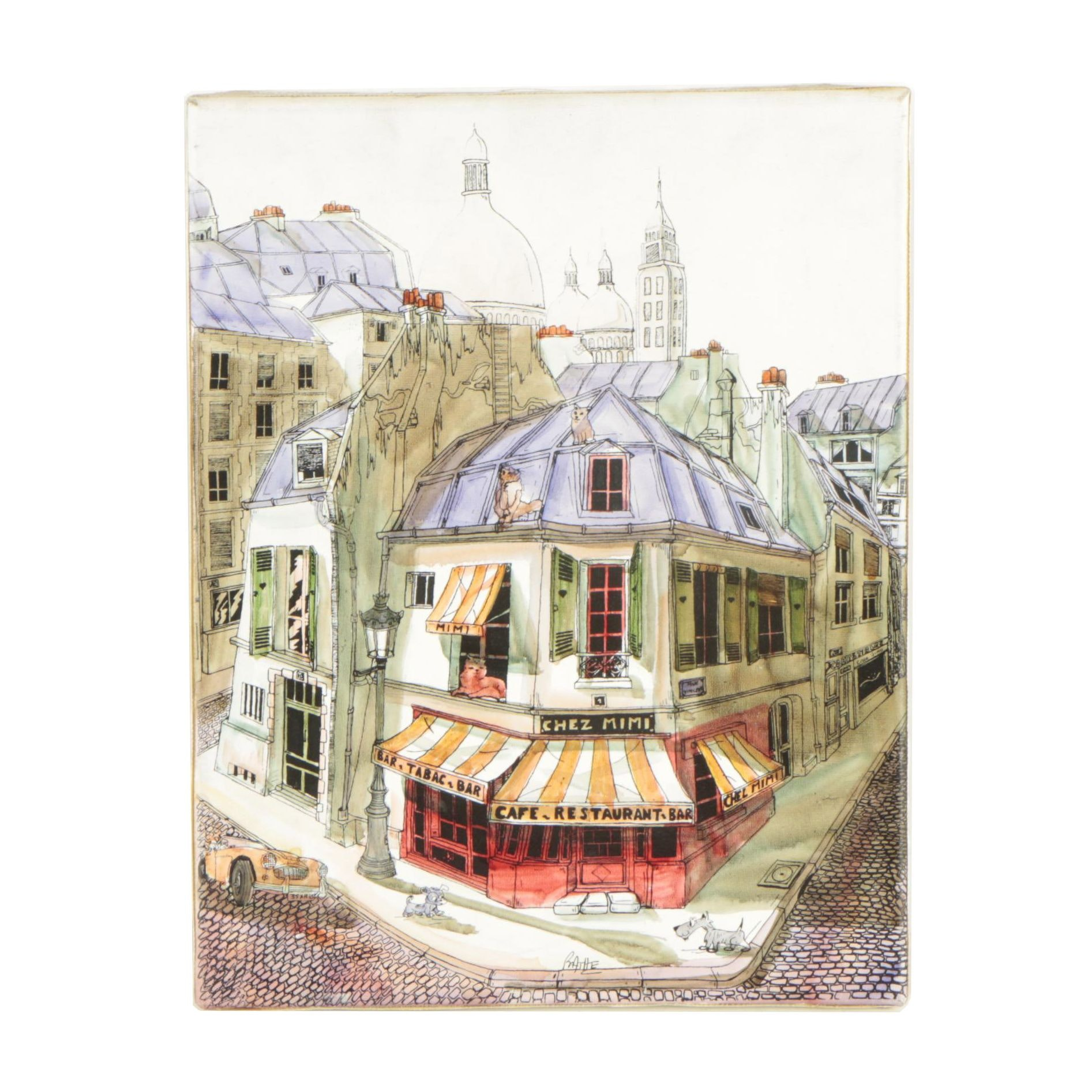 Hand-Colored Street Scene Serigraph