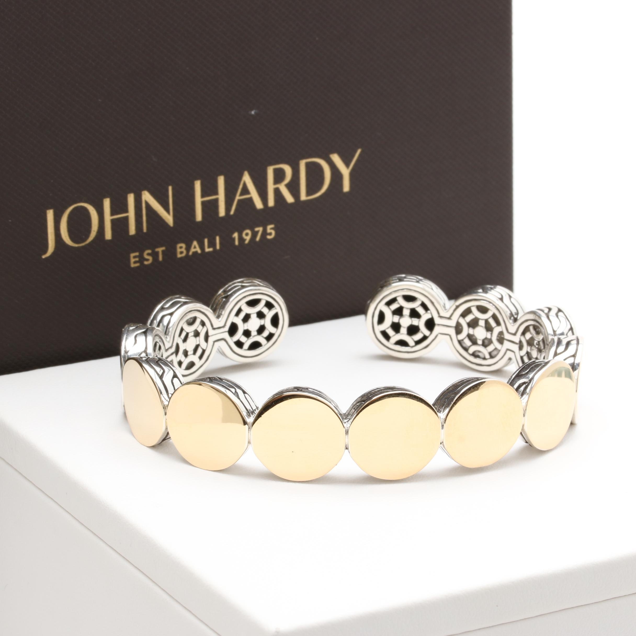 "John Hardy Sterling Silver ""Dot"" Cuff Bracelet with 18K Accents"
