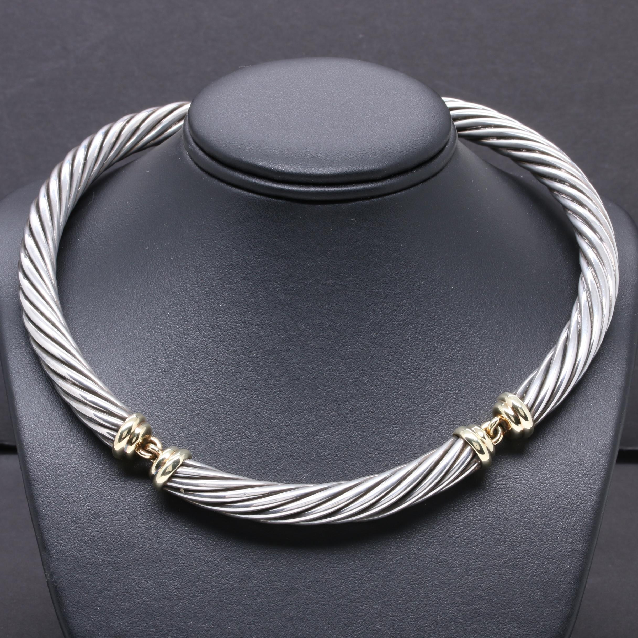 """David Yurman """"Metro"""" Sterling Silver Cable Collar Necklace with 14K Accents"""