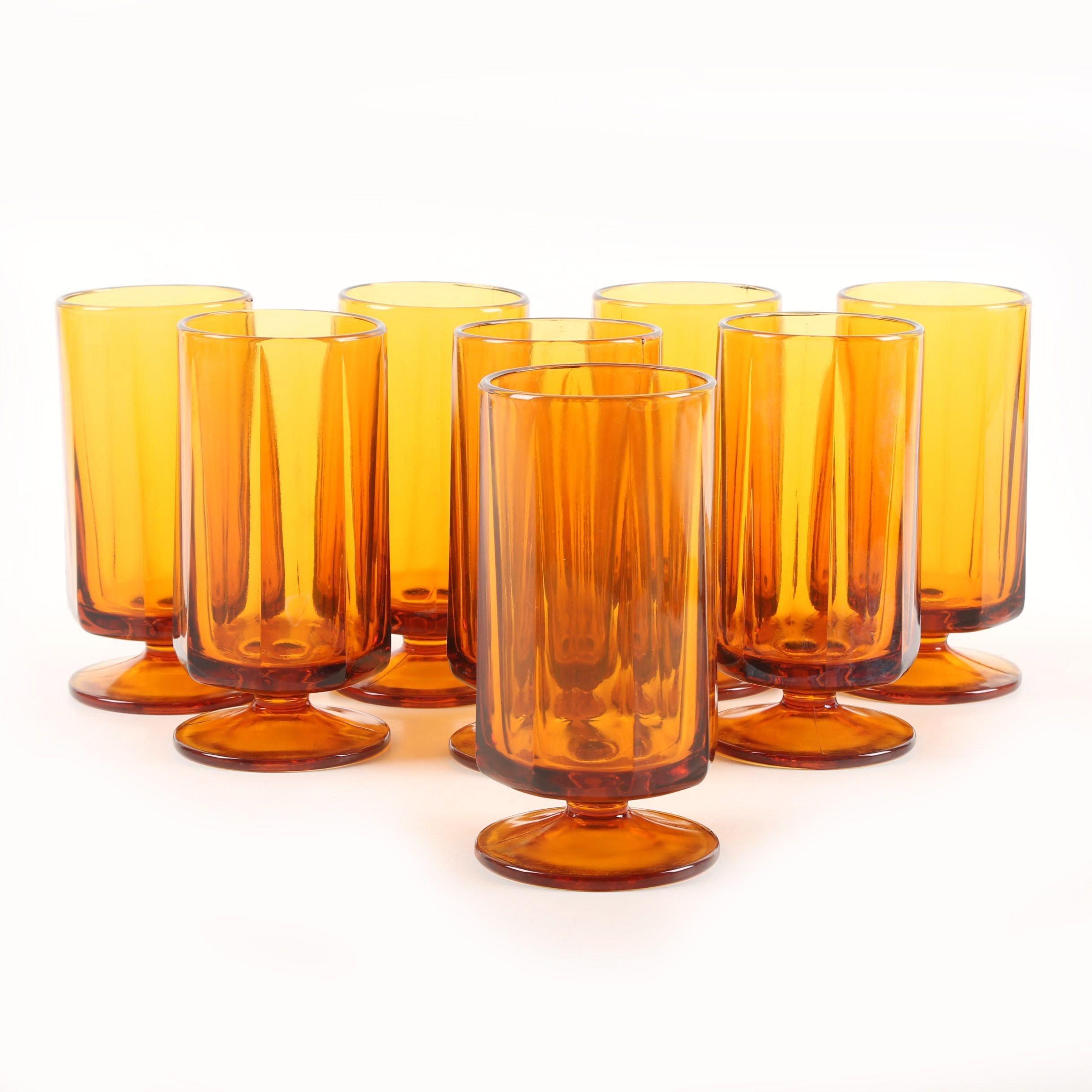 Vintage Amber Glass Footed Goblets
