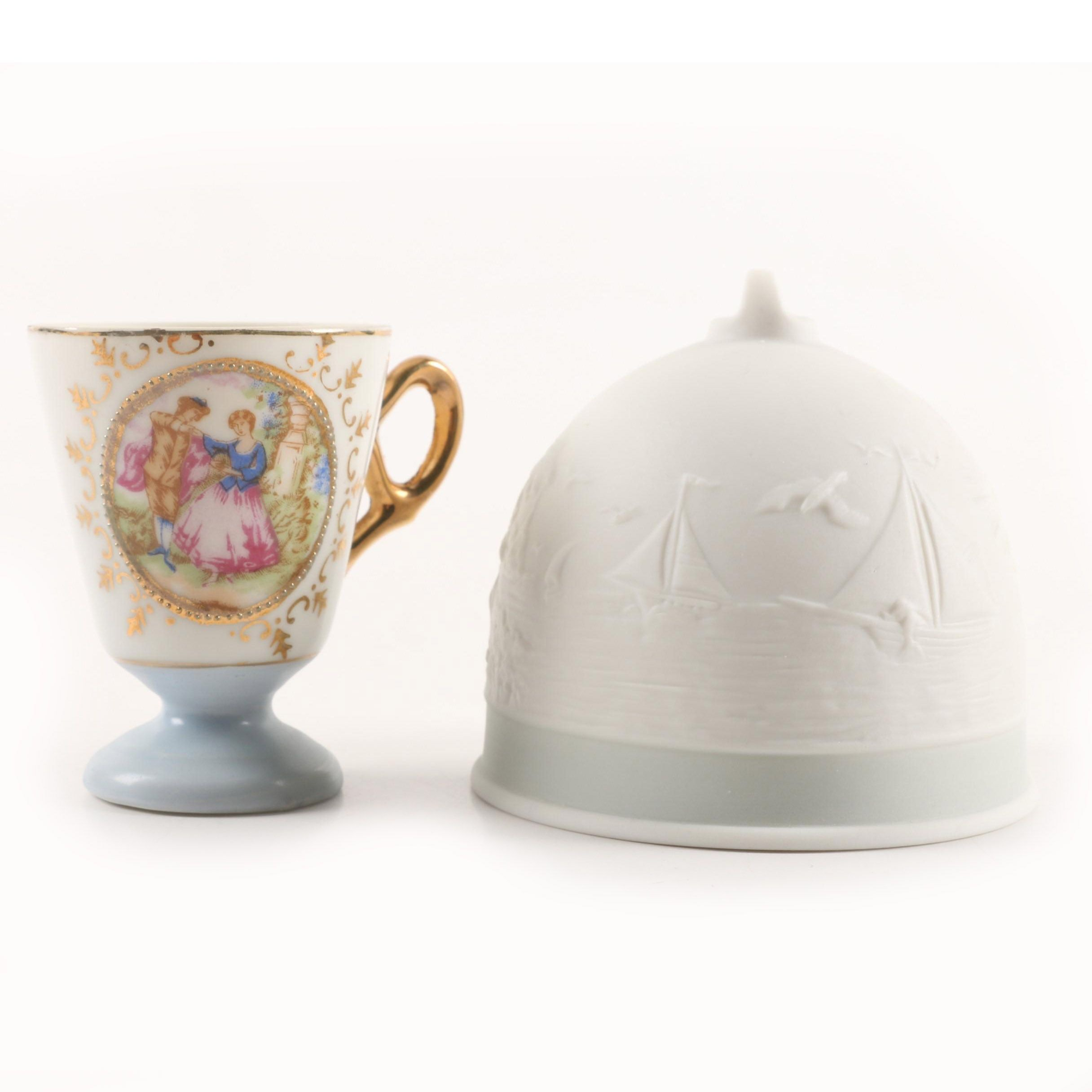 1992 Lladró Collectors Society Porcelain Bell and Courting Tableau Teacup