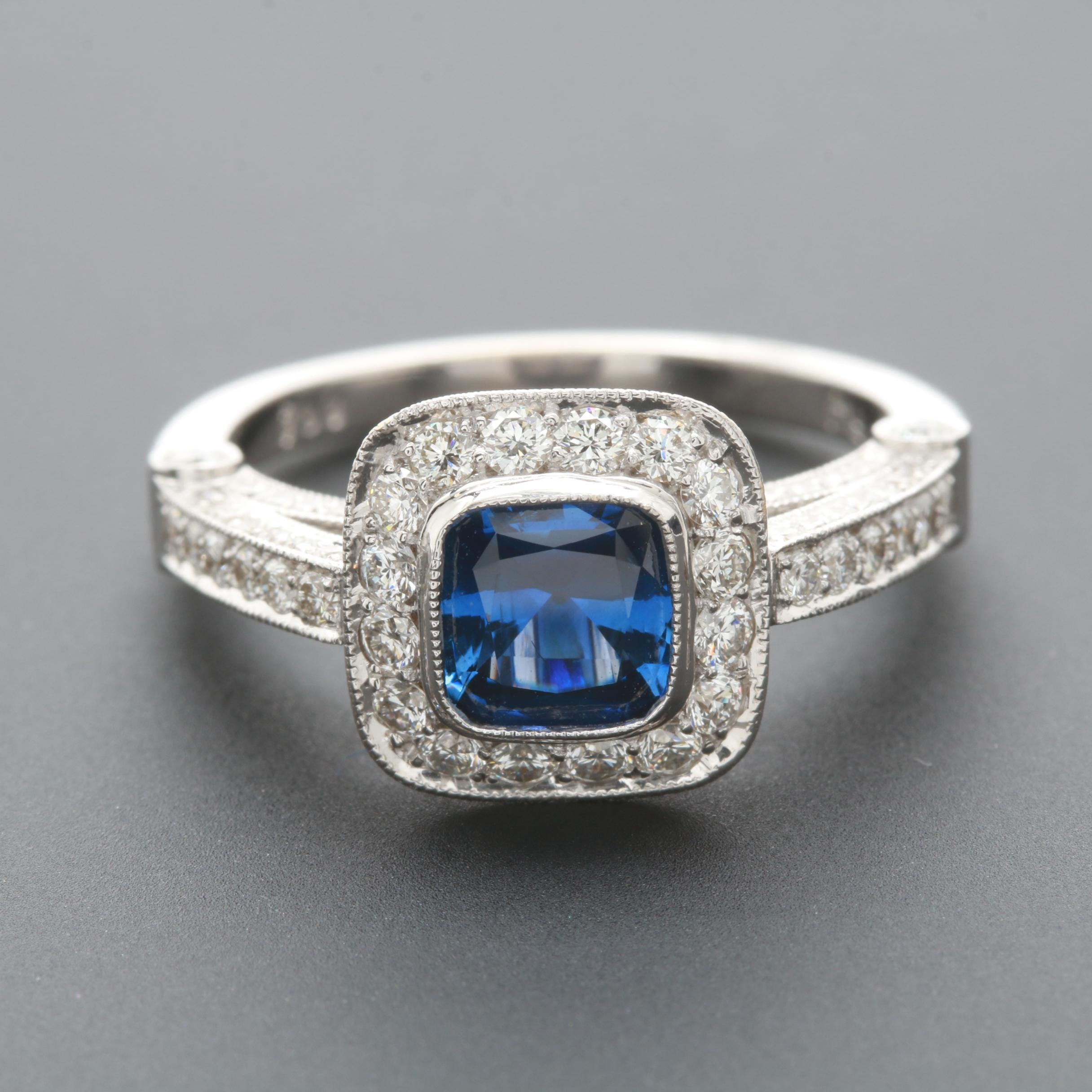 18K White Gold Blue Sapphire and 1.04 CTW Diamond Ring