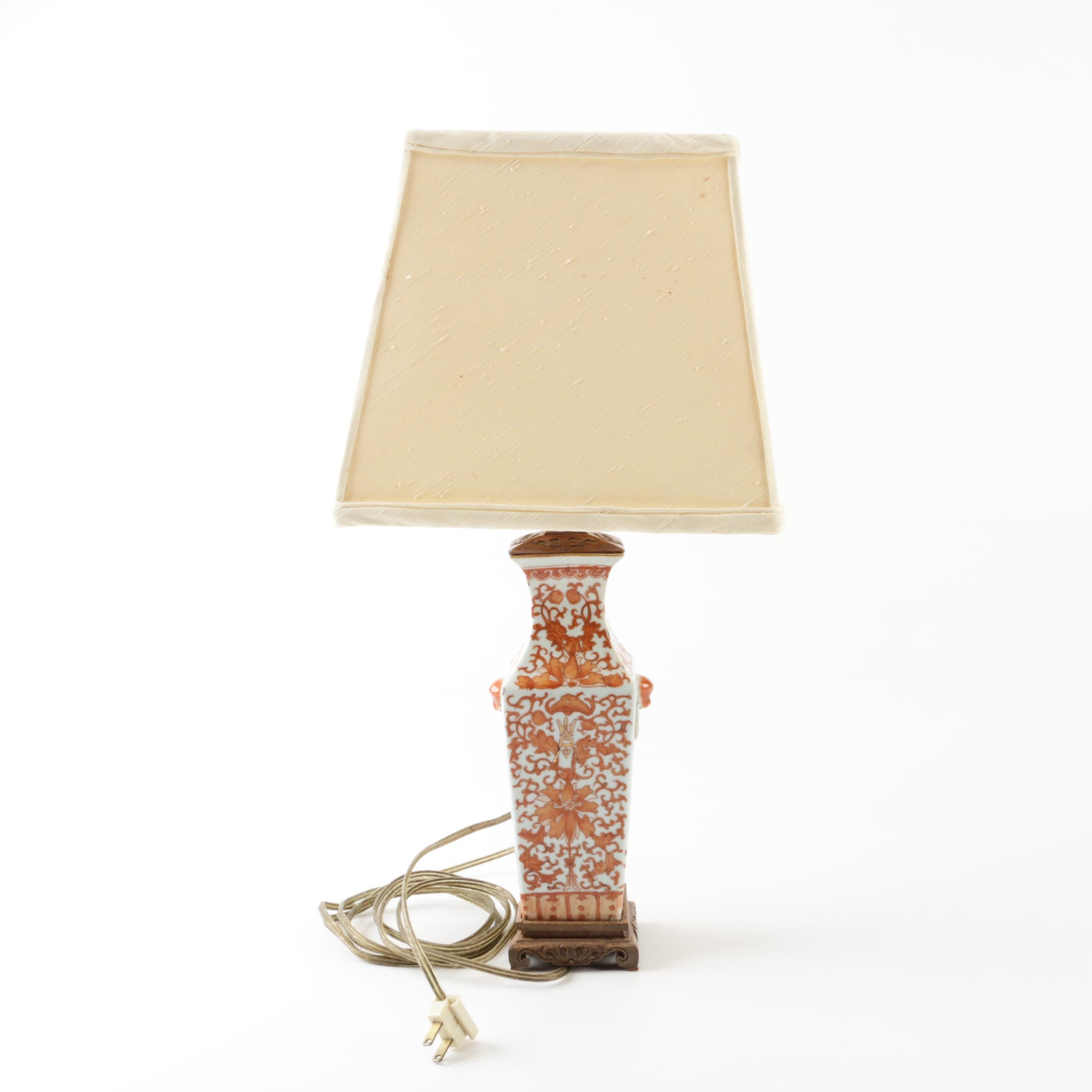 Chinese Decorated Porcelain Table Lamp with Carved Wood Accents