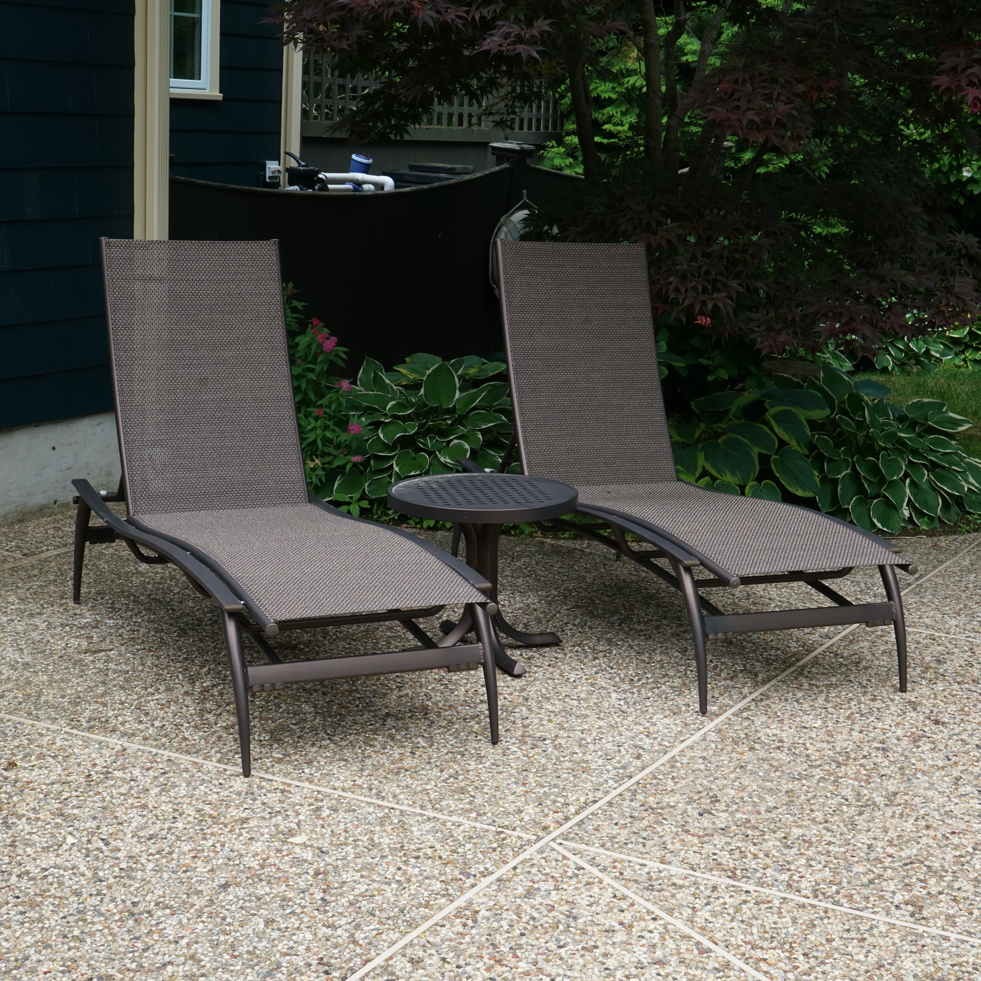 Tropitone Patio Chaise Lounges with Matching Side Table