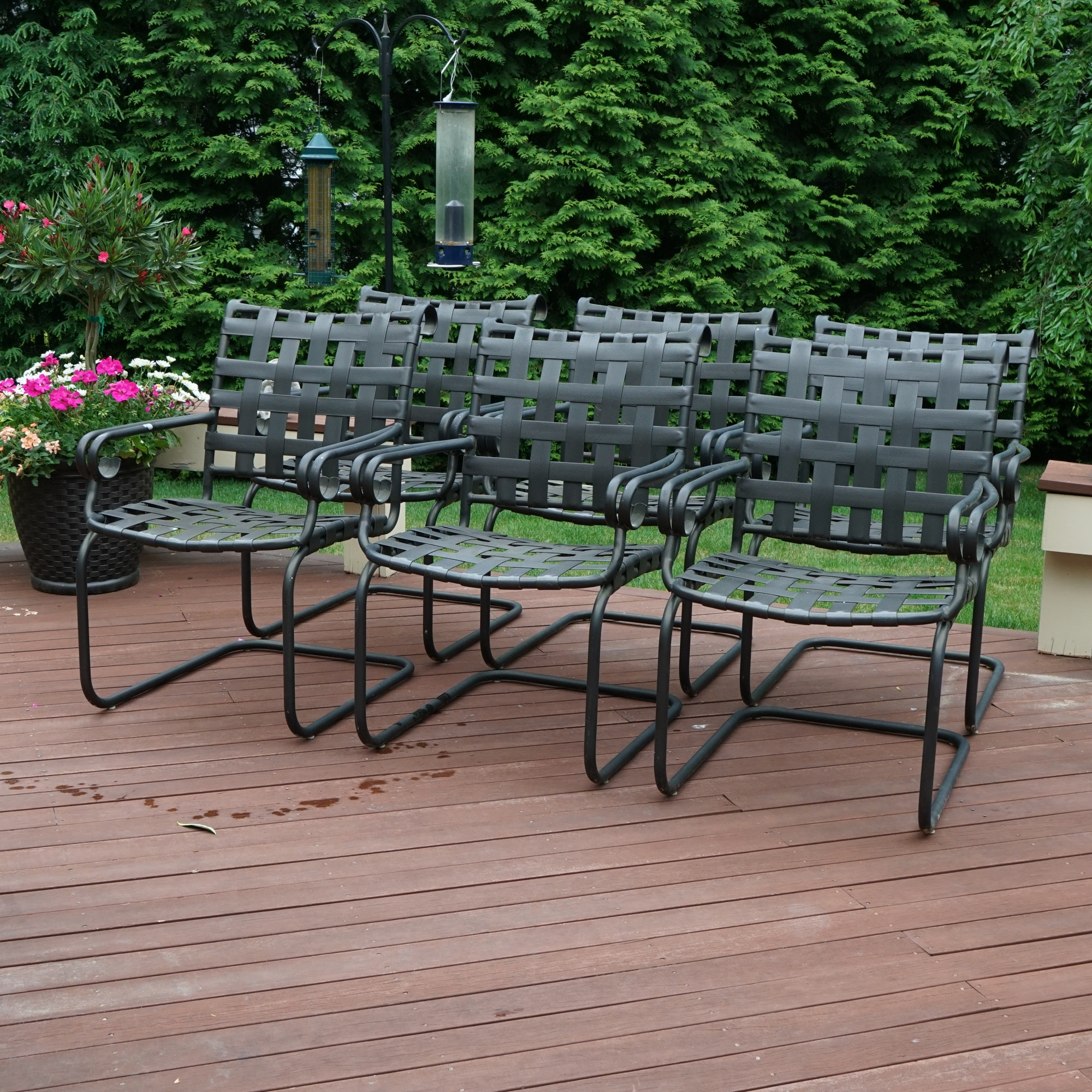 Openwork Metal Patio Armchair Set