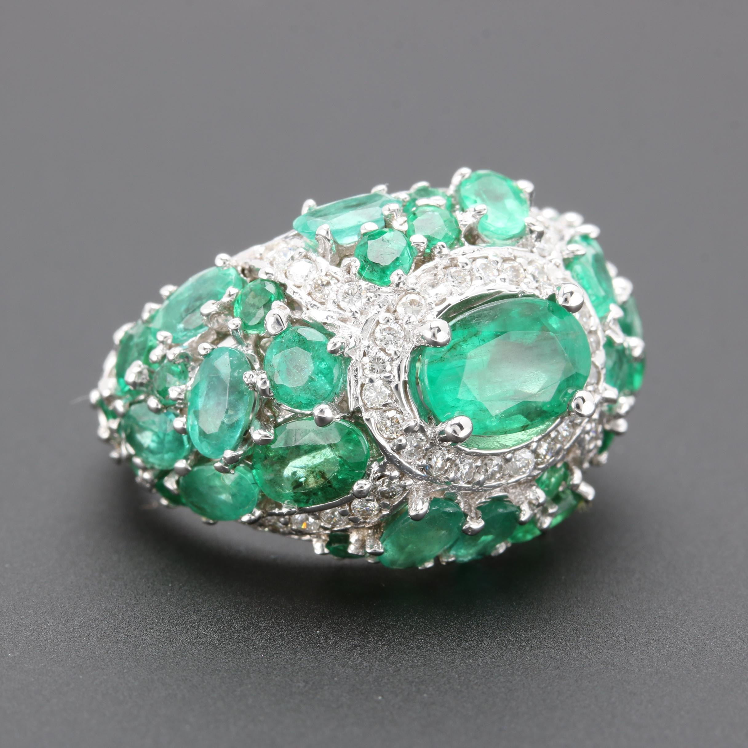 14K White Gold Emerald and Diamond Dome Ring
