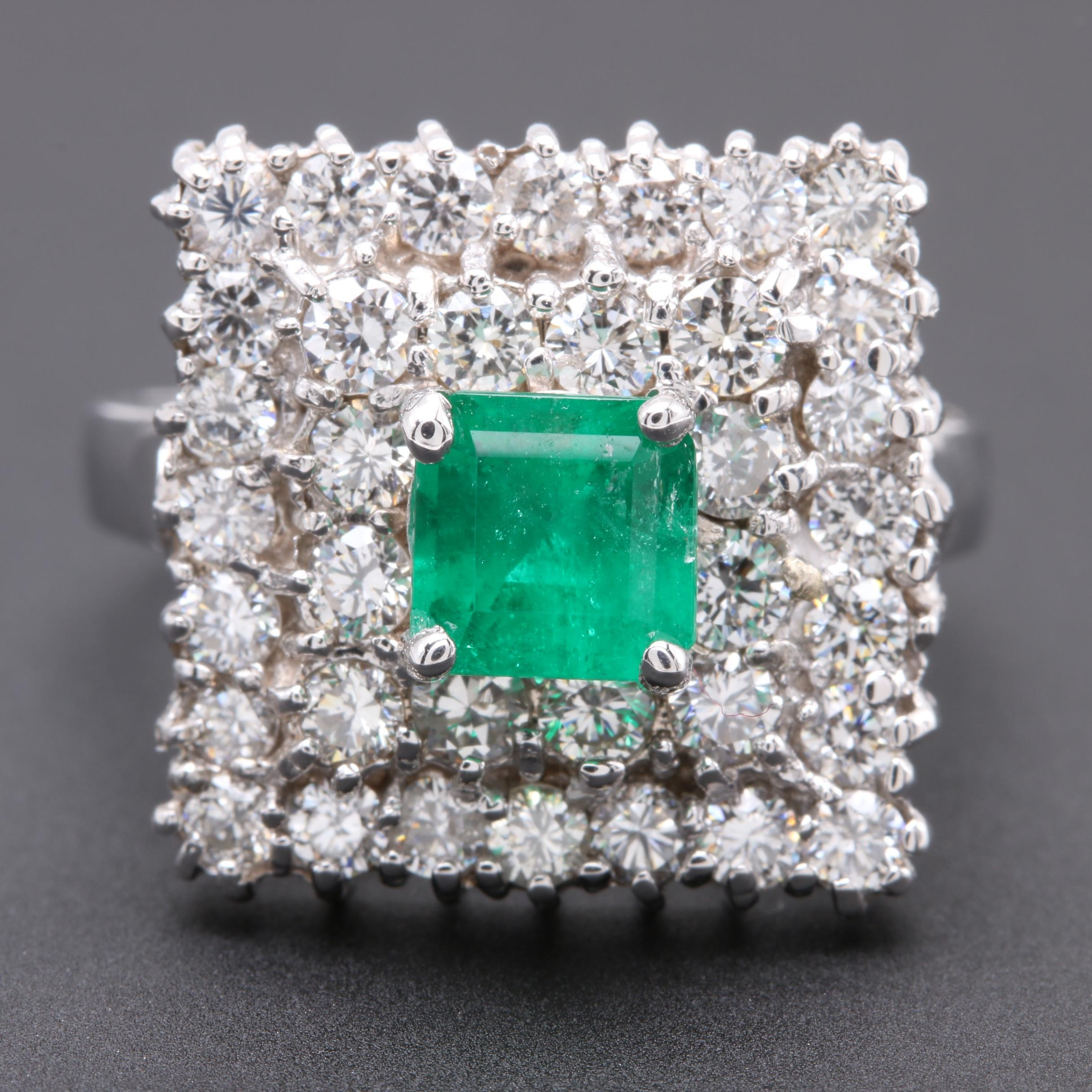 14K White Gold Emerald and 1.56 CTW Diamond Ring