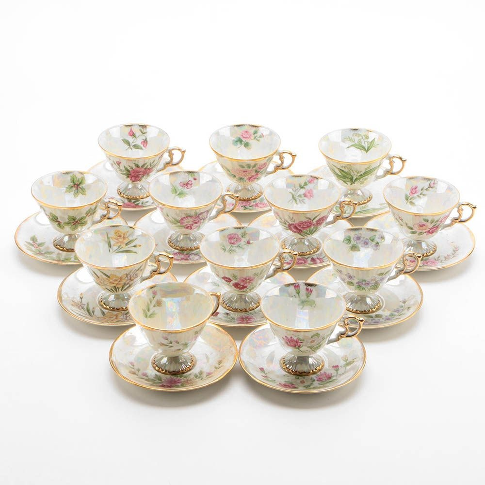 """Norleans """"Flower of the Month"""" Tea Cup and Saucer Complete Set"""