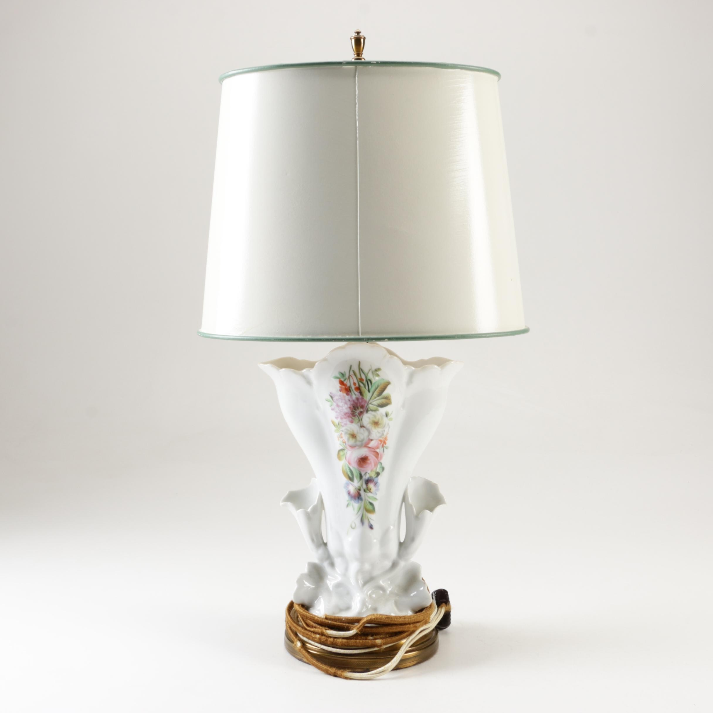 Vintage Porcelain Spill Vase Table Lamp with Shade