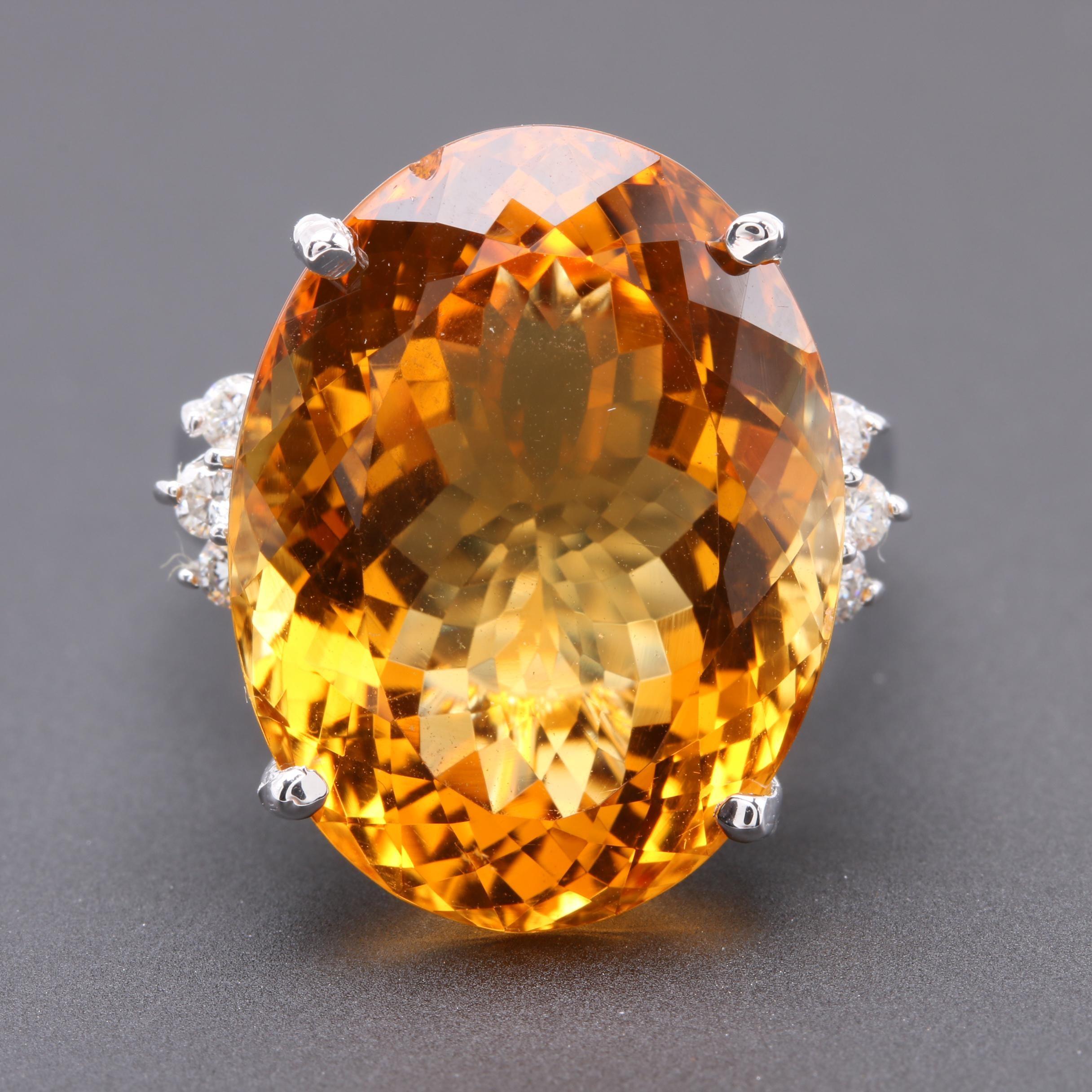14K White Gold 22.06 CT Citrine and Diamond Statement Ring