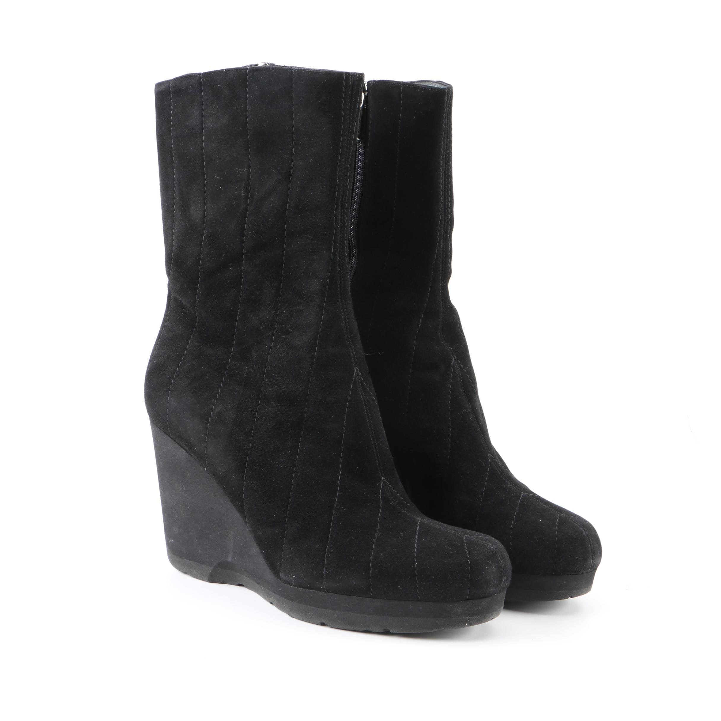 Women's Thierry Rabotin Black Suede Wedge Boots